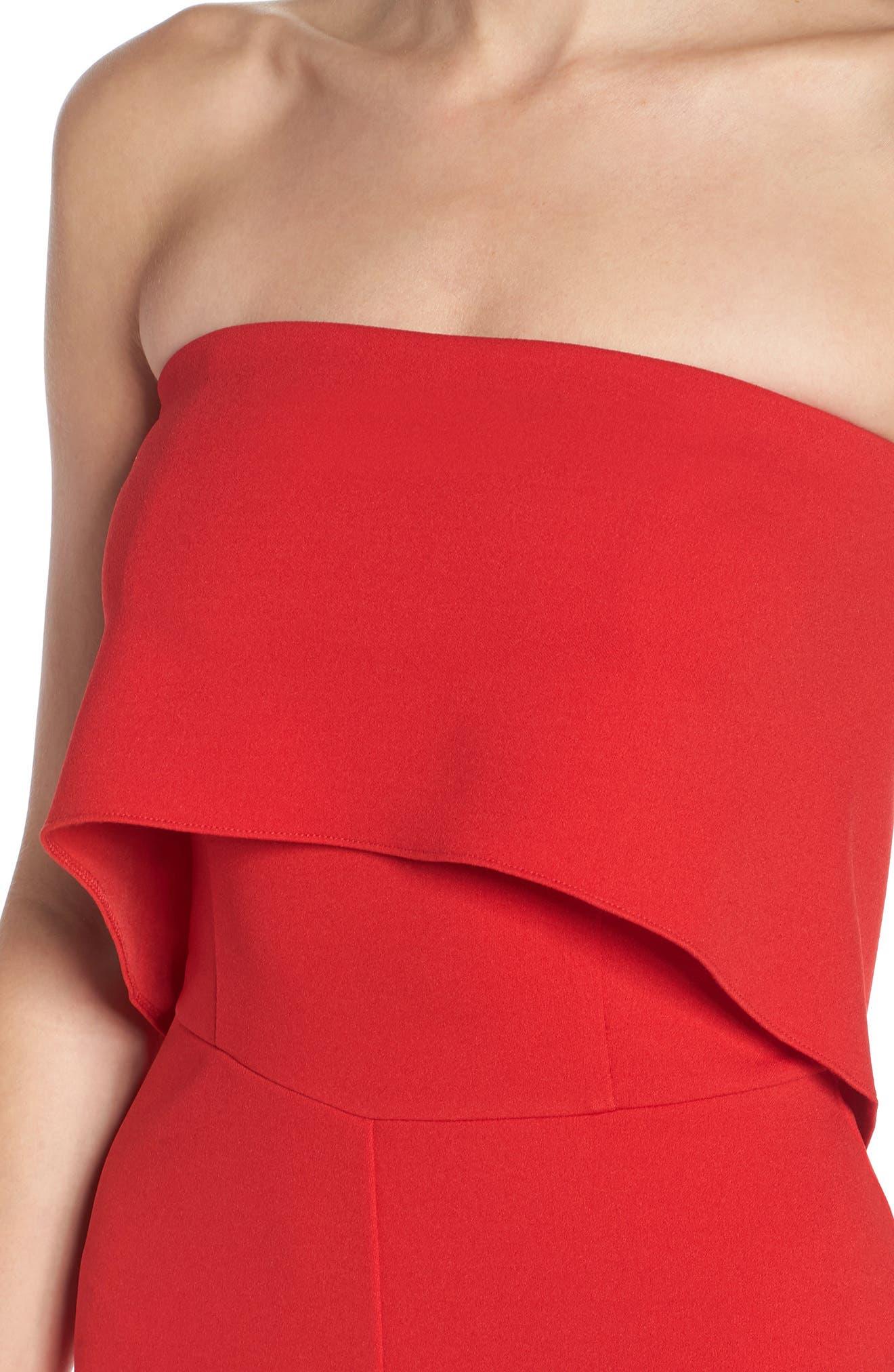 Strapless Culotte Jumpsuit,                             Alternate thumbnail 4, color,                             Red