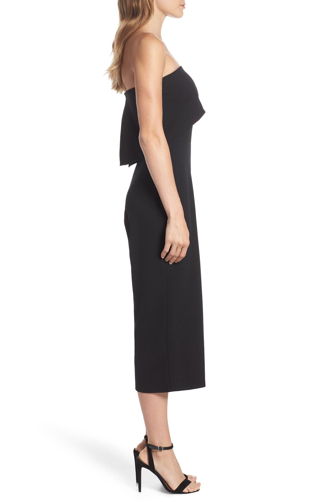 Strapless Culotte Jumpsuit,                             Alternate thumbnail 3, color,                             Black