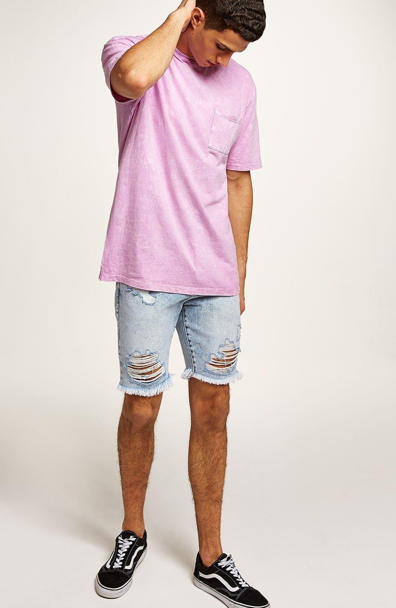 Acid Wash Pocket T-Shirt,                             Alternate thumbnail 5, color,                             Pink Multi
