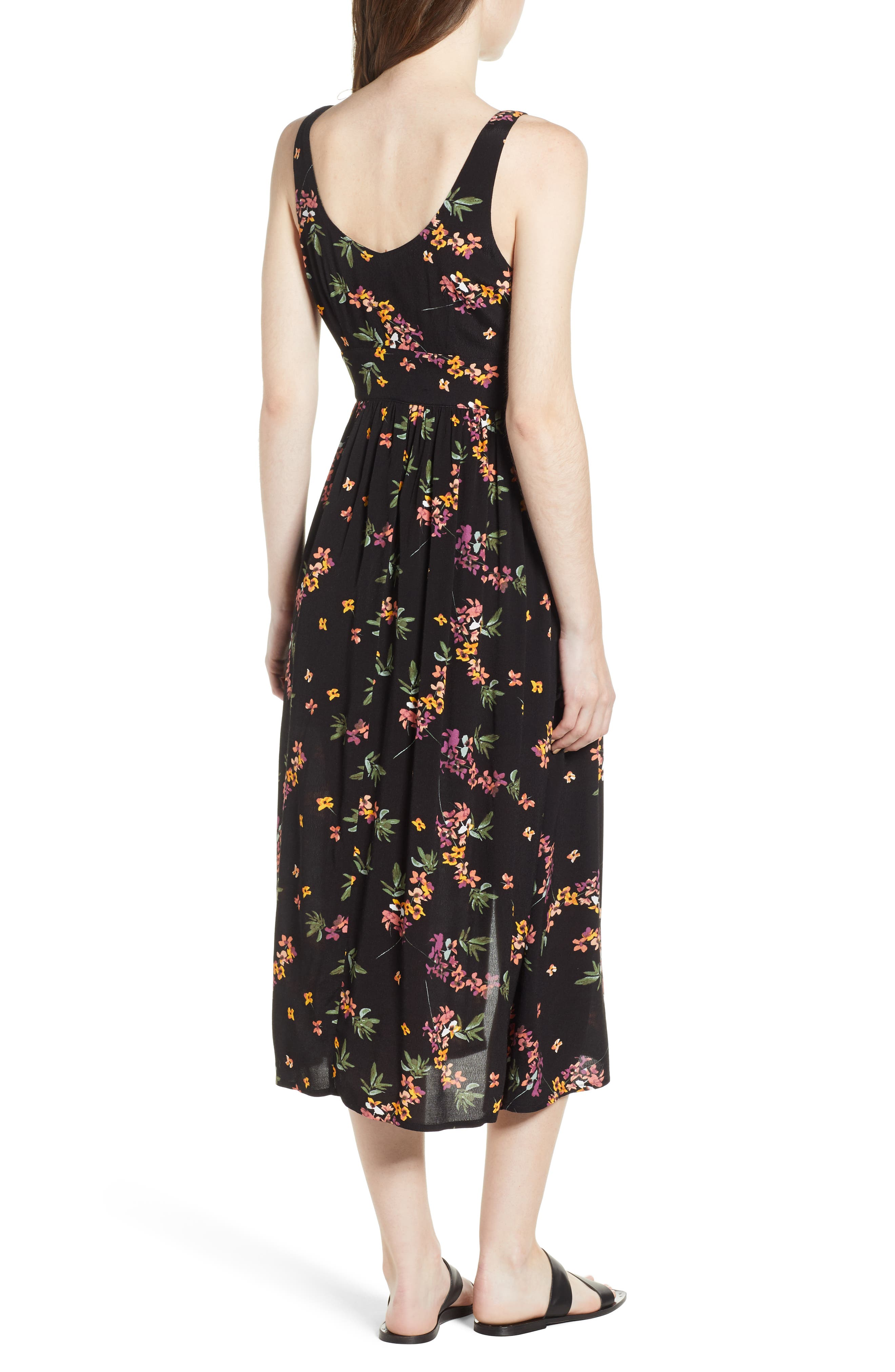 Floral Midi Dress,                             Alternate thumbnail 6, color,                             Black Floral