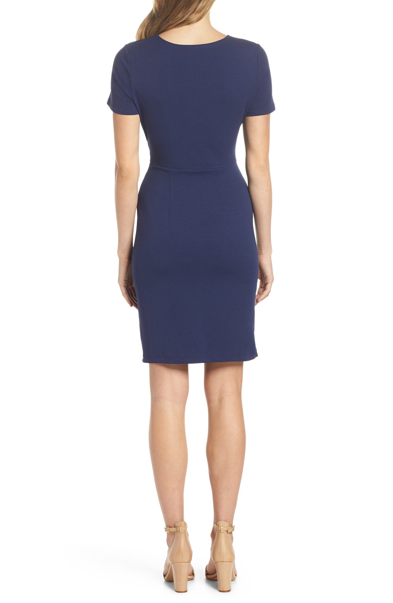Tie Front Sheath Dress,                             Alternate thumbnail 2, color,                             Navy