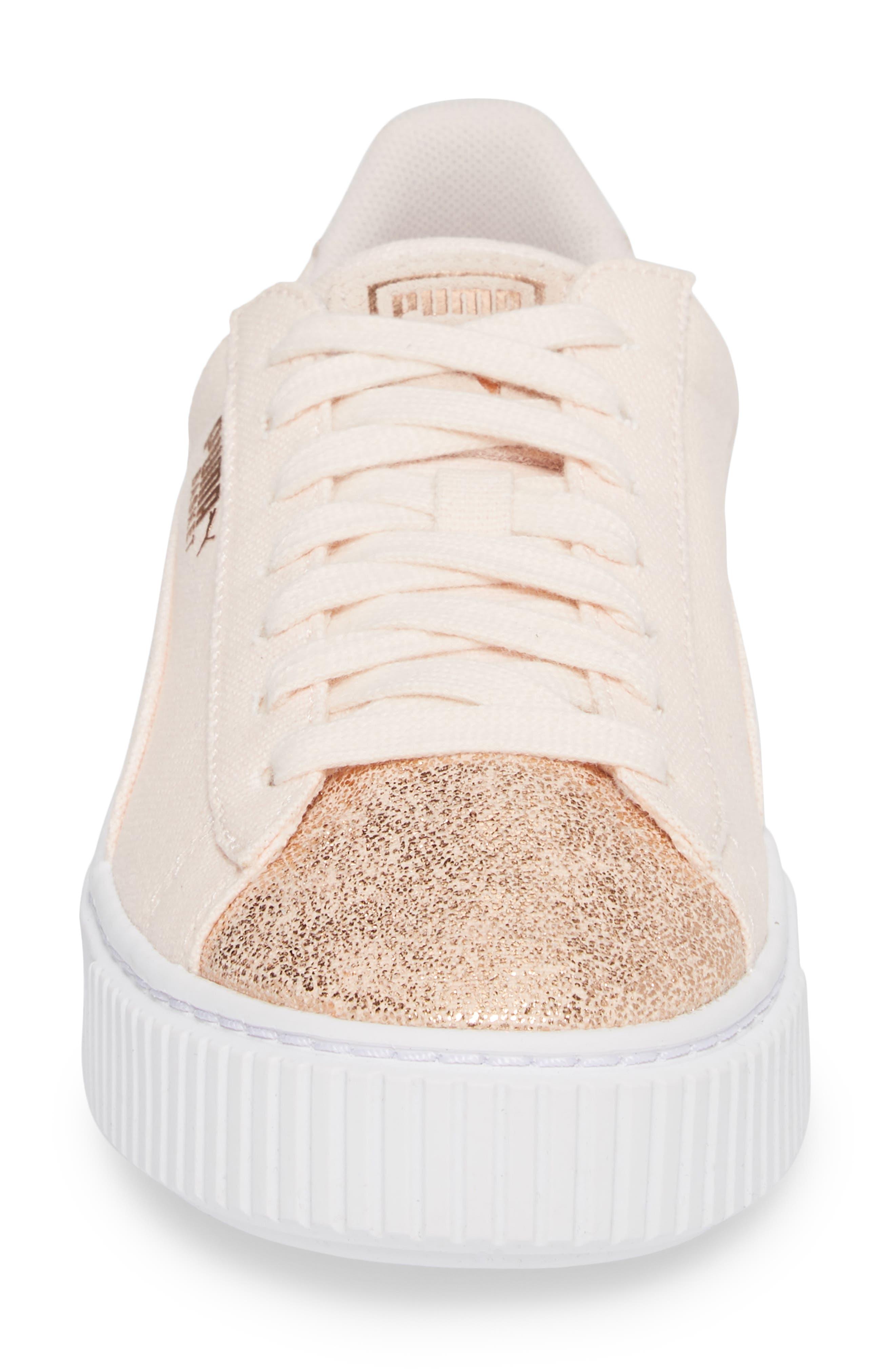 Basket Platform Sneaker,                             Alternate thumbnail 4, color,                             Pearl/ Rose Gold