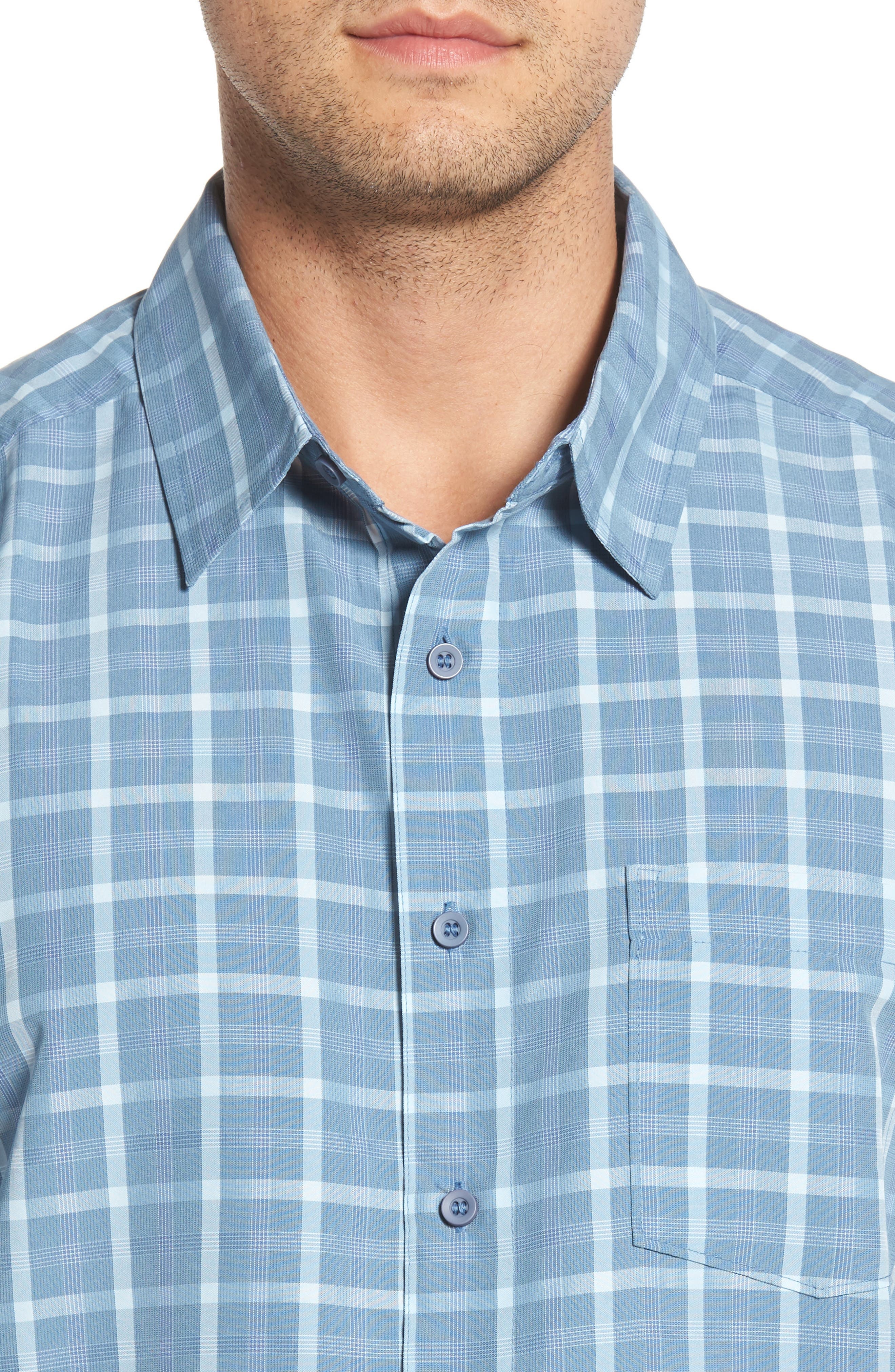 Checked Light Classic Fit Sport Shirt,                             Alternate thumbnail 2, color,                             Blue Shadow