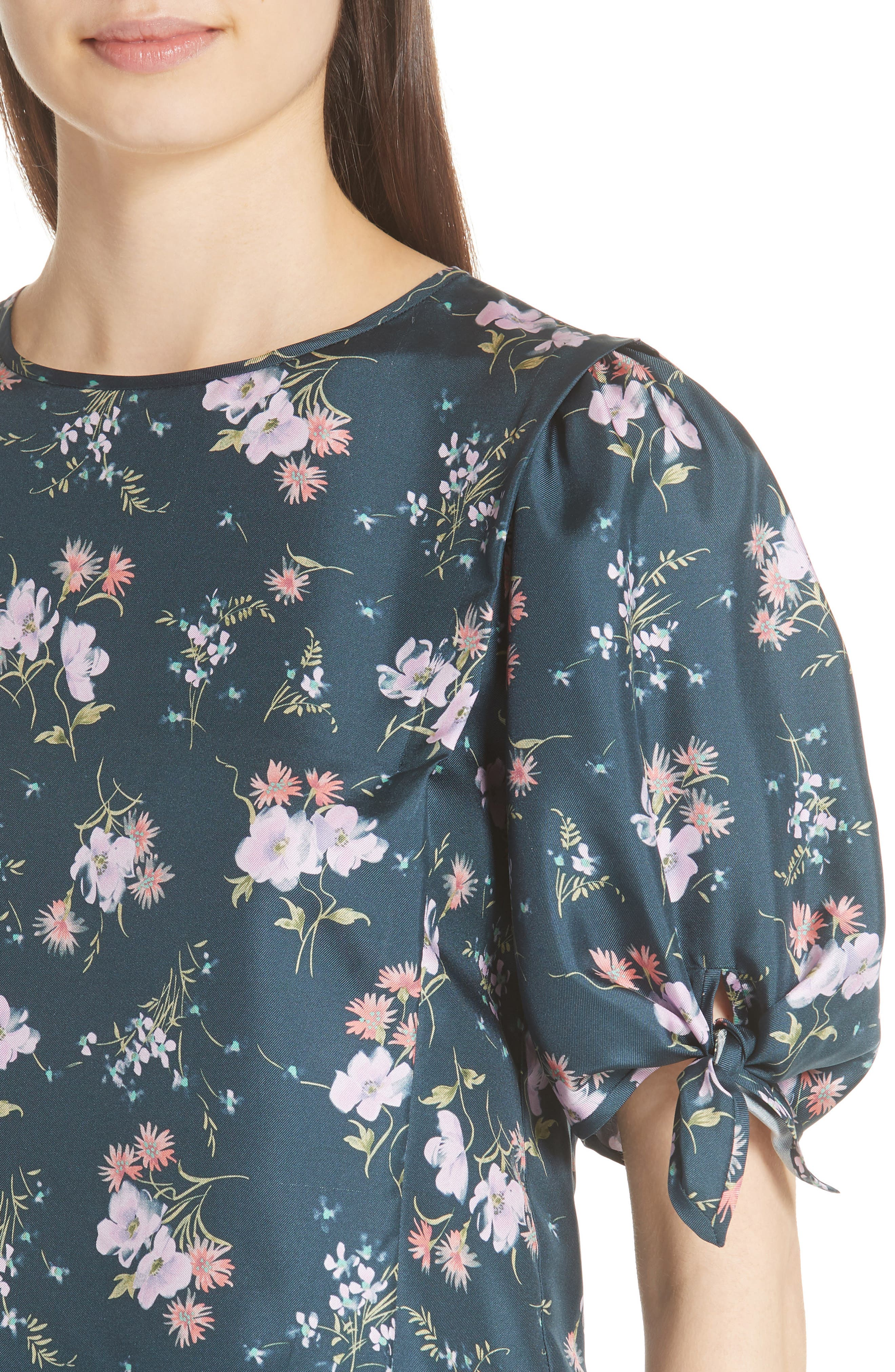 Emilia Tie Sleeve Floral Top,                             Alternate thumbnail 4, color,                             Teal Combo