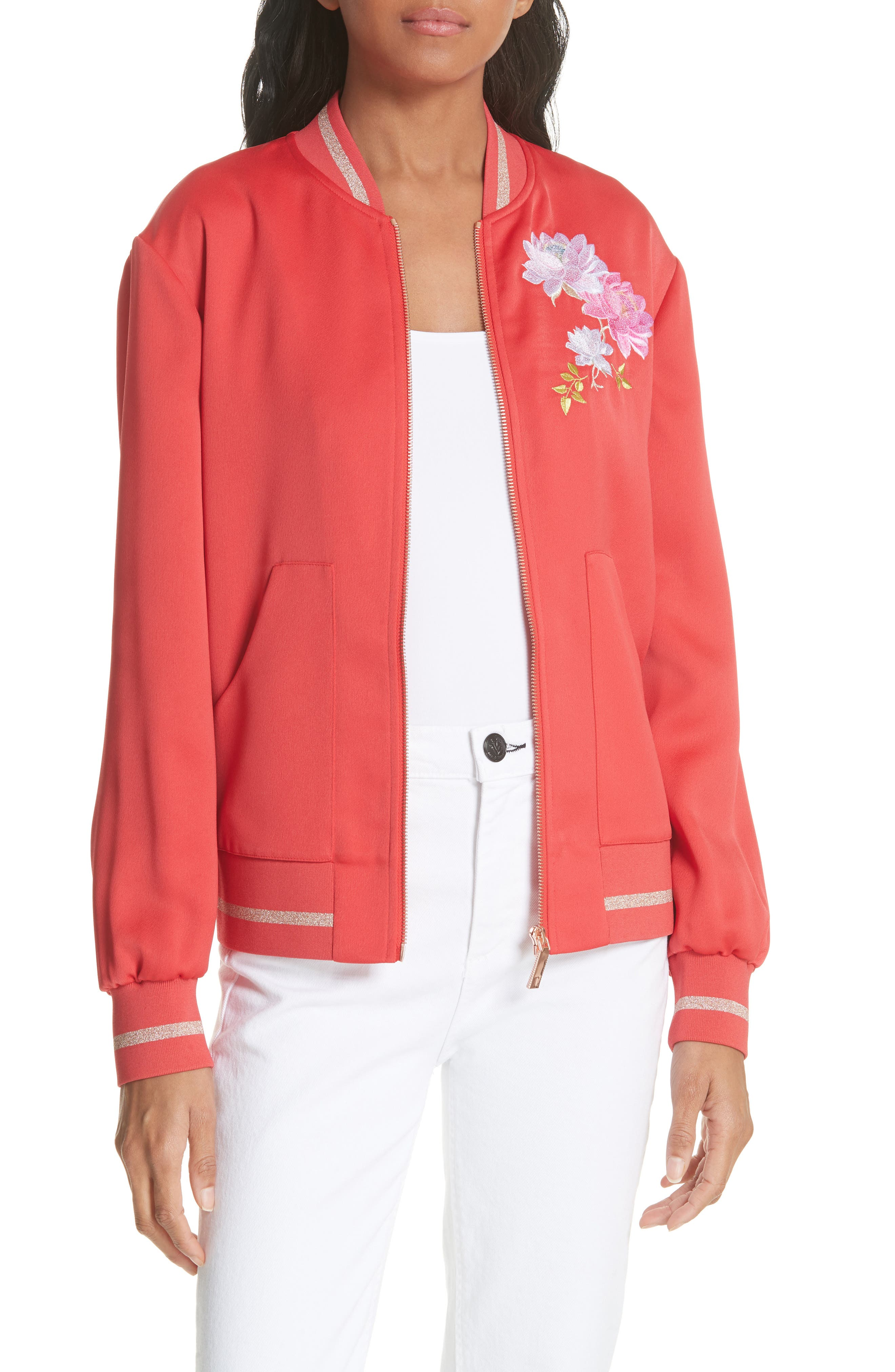 Ruuthe Chinoiserie Embroidery Jacket,                             Main thumbnail 1, color,                             Bright Red