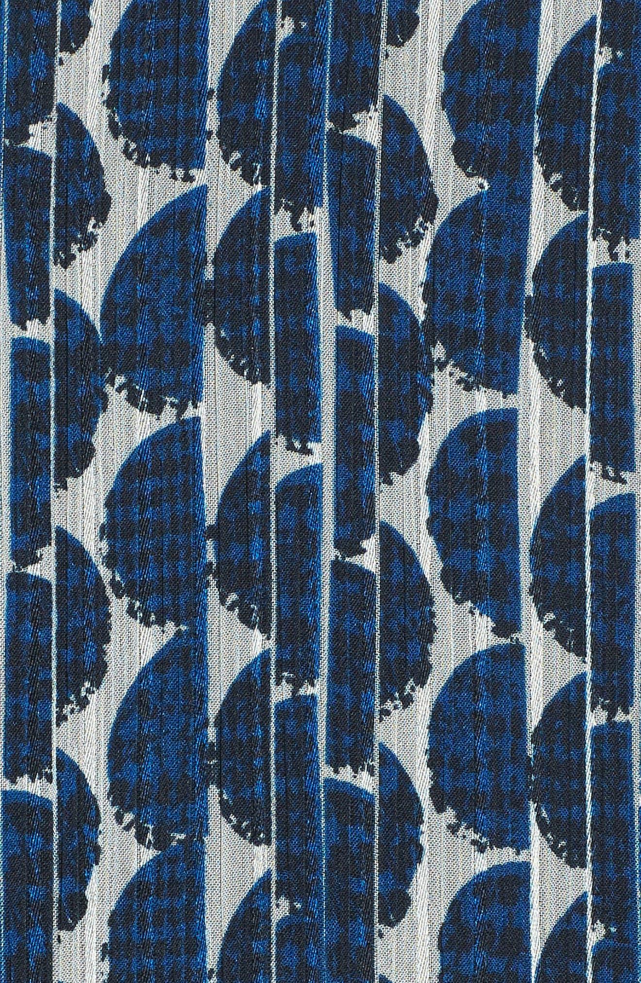 Print Frill Midi Dress,                             Alternate thumbnail 6, color,                             Blue/ Black