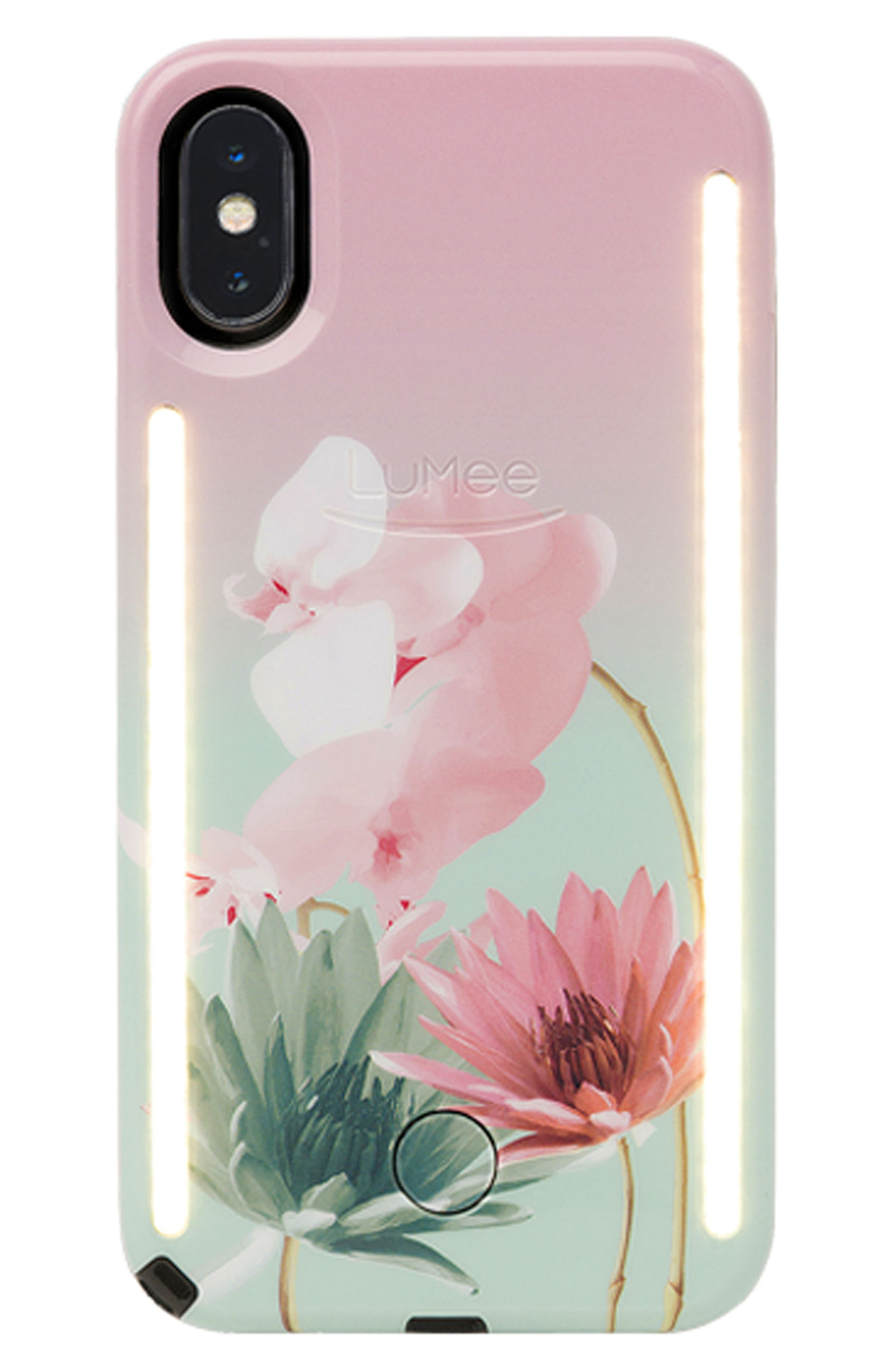 Duo LED Lighted iPhone X Case,                             Main thumbnail 1, color,                             Desert Flower