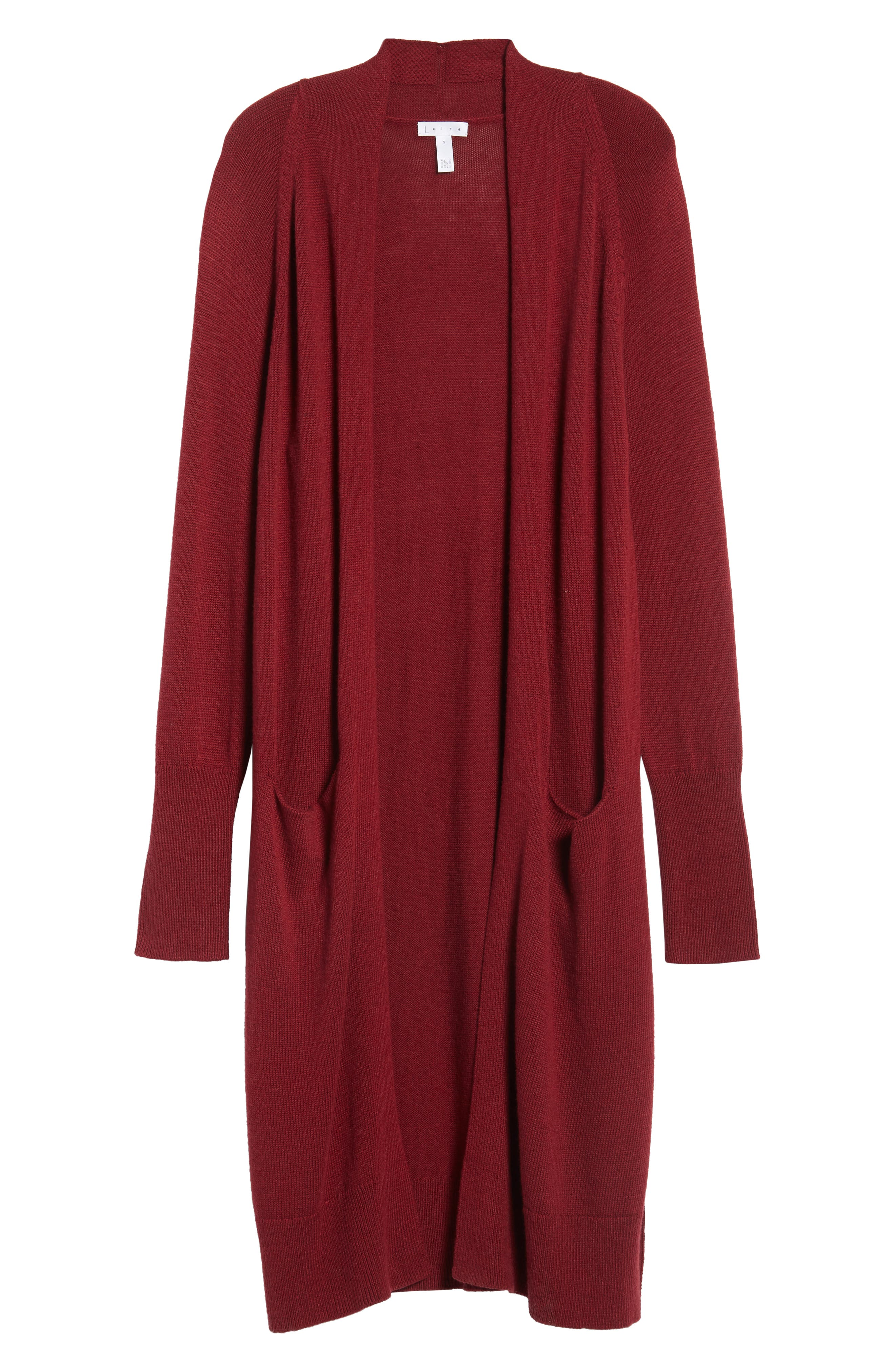 Side Split Midi Cardigan,                             Alternate thumbnail 6, color,                             Red Grape