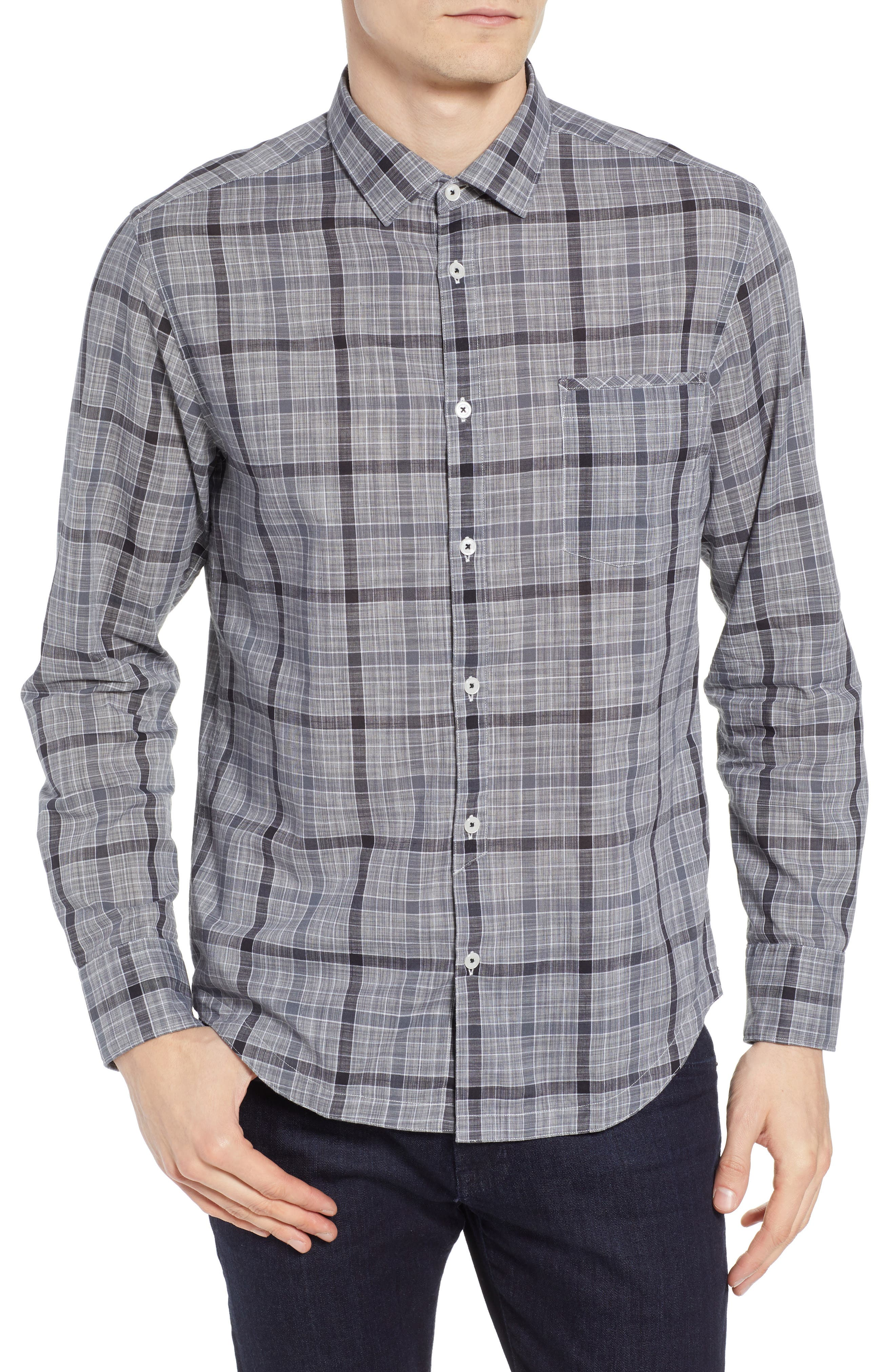 Plaid Sport Shirt,                         Main,                         color, Black