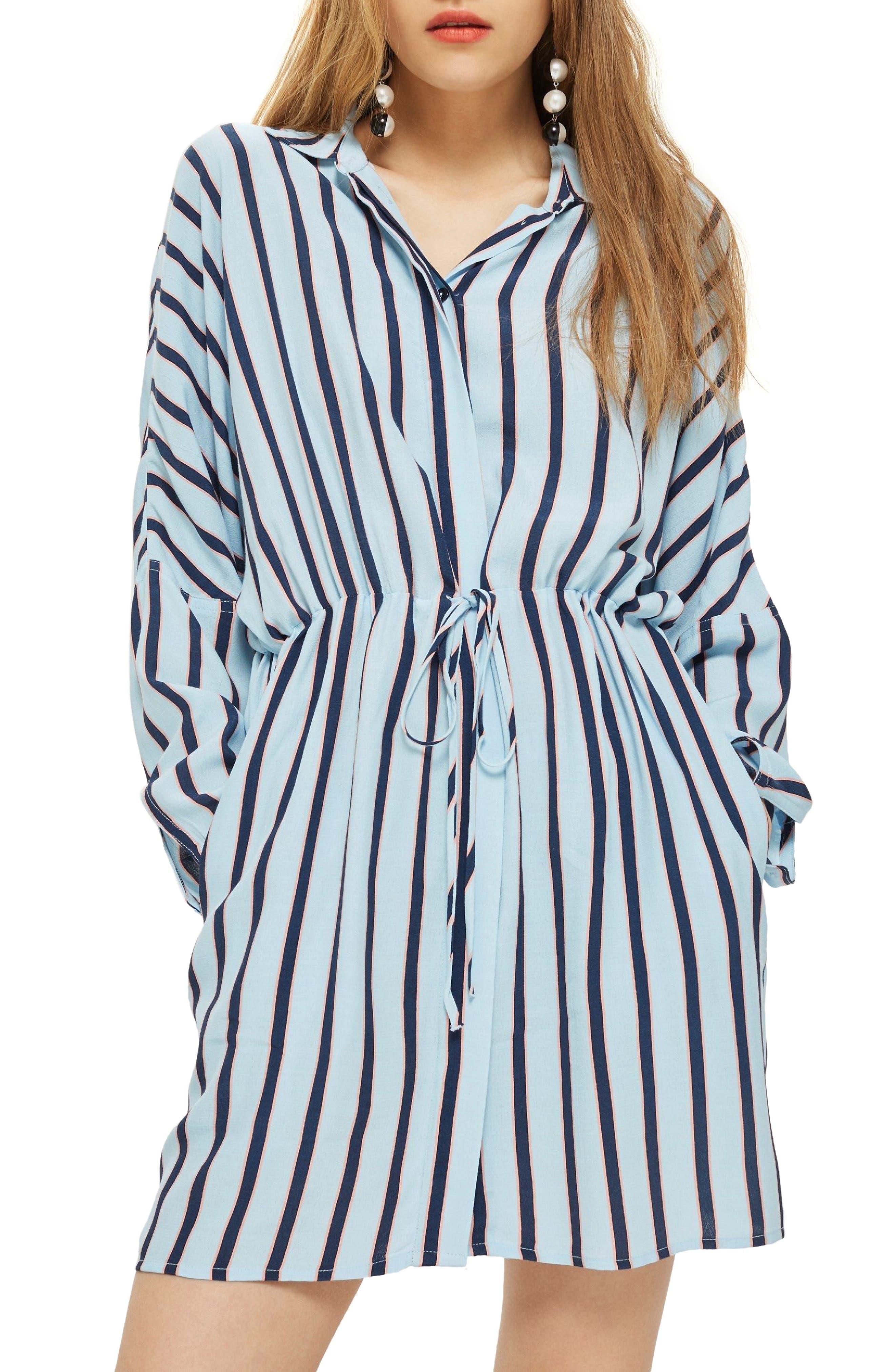 Drawstring Stripe Shirtdress,                             Main thumbnail 1, color,                             Blue