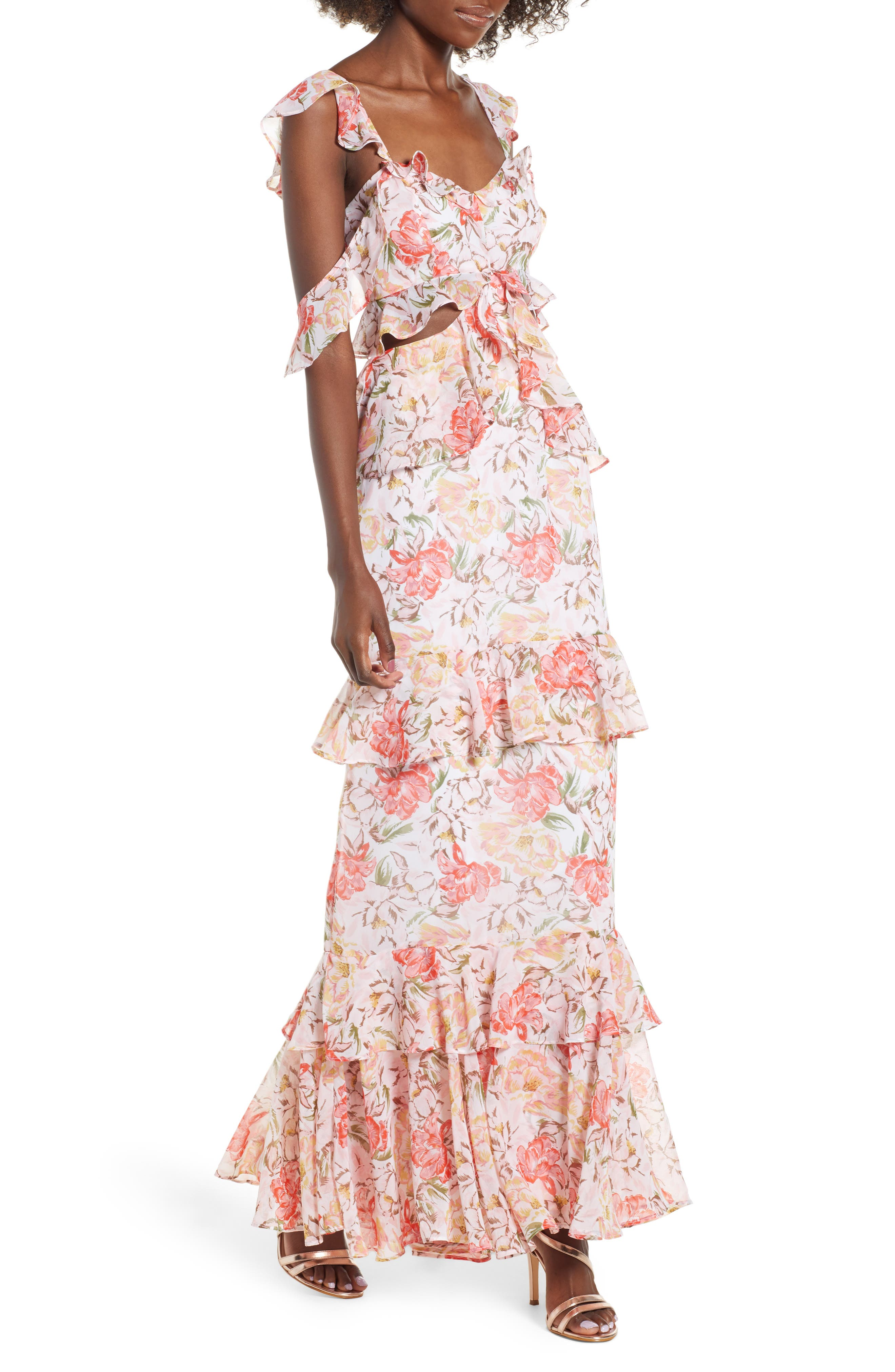 Milan Cut Out Ruffle Maxi Dress,                             Main thumbnail 1, color,                             Ivory Floral