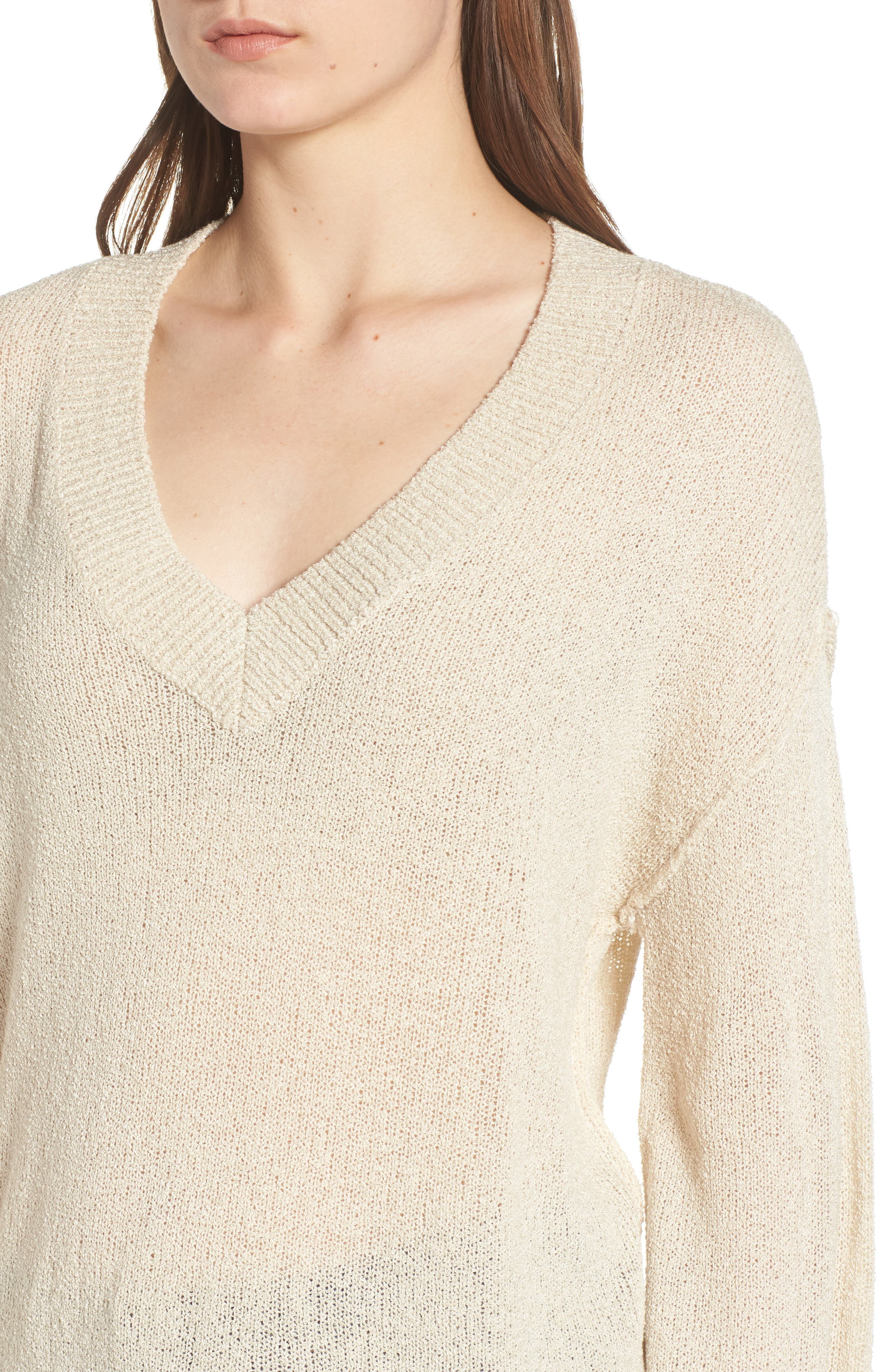 Exposed Seam Sweater,                             Alternate thumbnail 4, color,                             Beige Birch