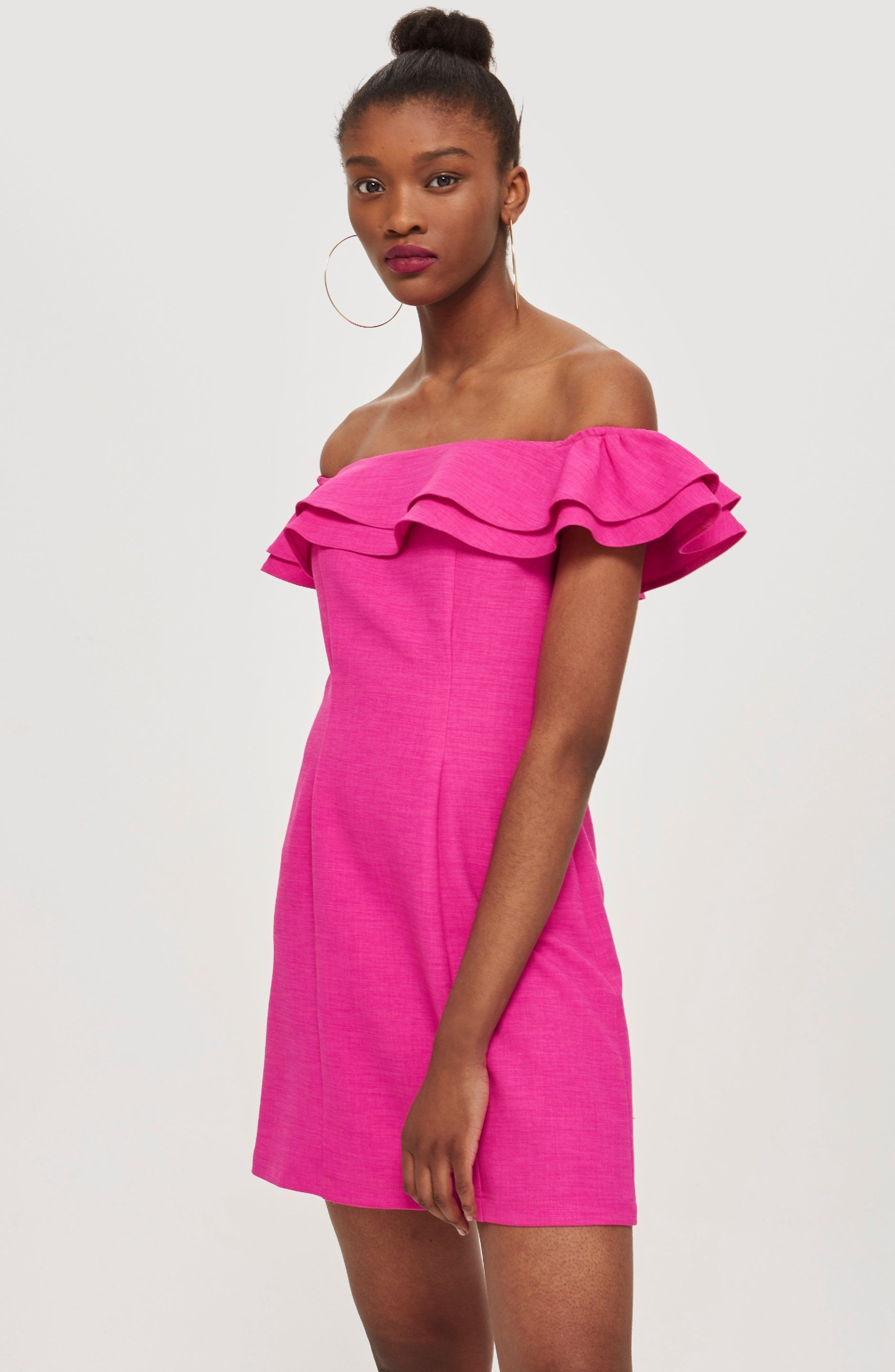 Off the Shoulder Ruffle Minidress,                             Alternate thumbnail 2, color,                             Pink