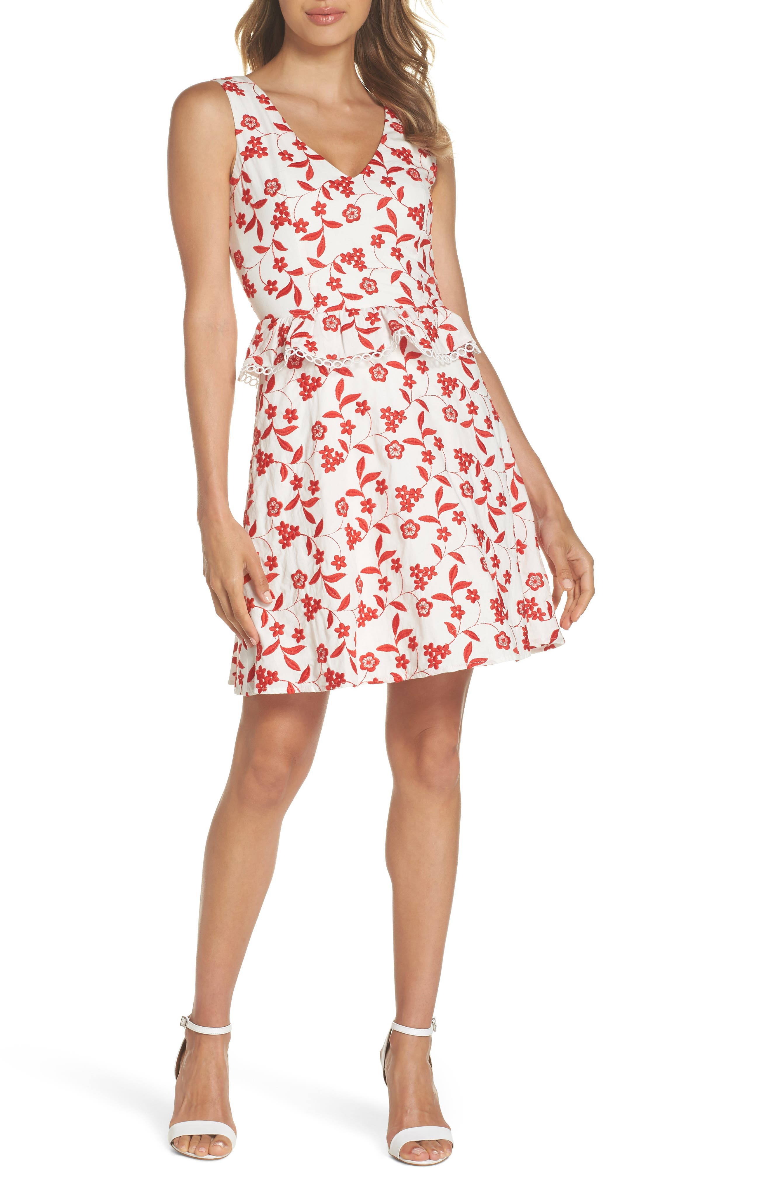 Aubrey Embroidered Cotton Dress,                             Main thumbnail 1, color,                             Flame