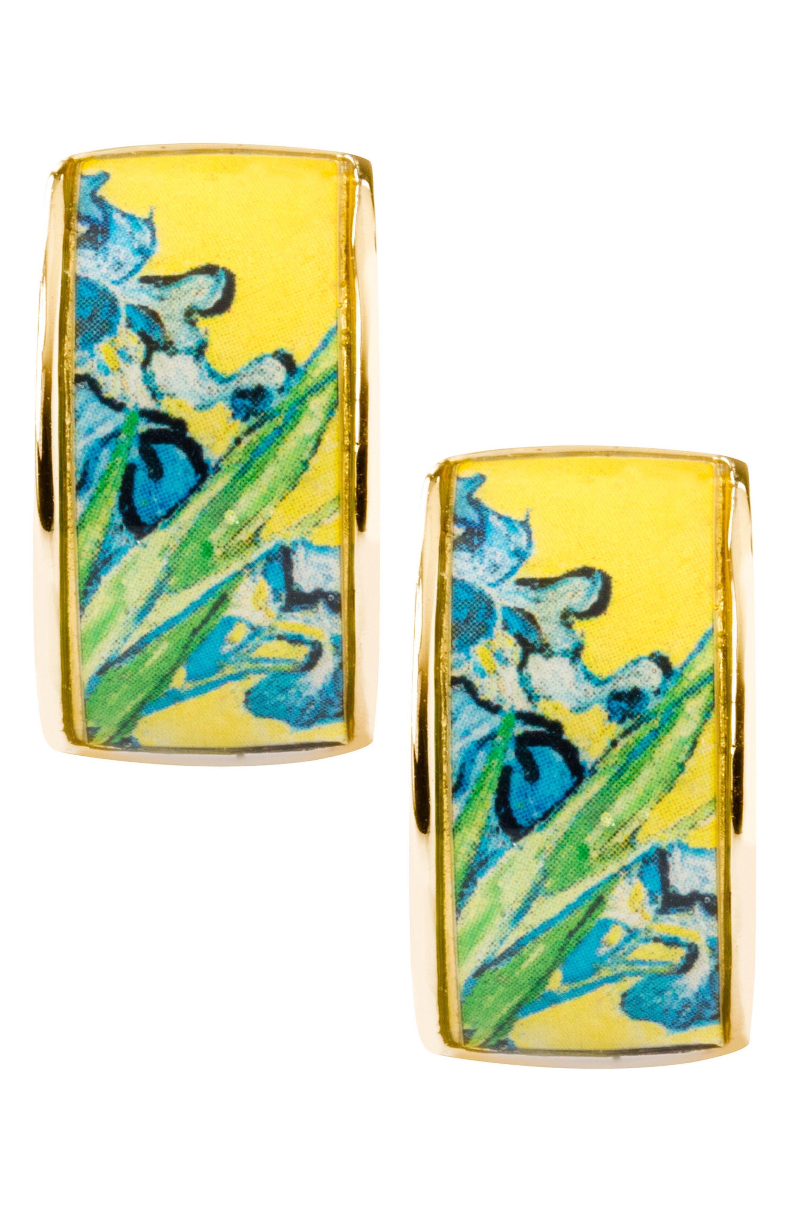 Goldtone Irises Clip-on Earrings,                             Alternate thumbnail 4, color,                             Yellow/ Gold