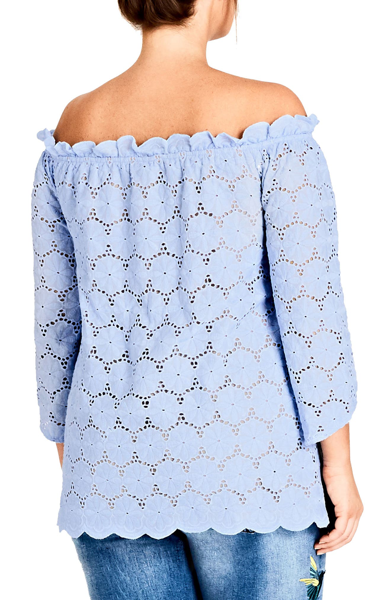 Swiss Affair Lace Off the Shoulder Top,                             Alternate thumbnail 2, color,                             Powder Blue