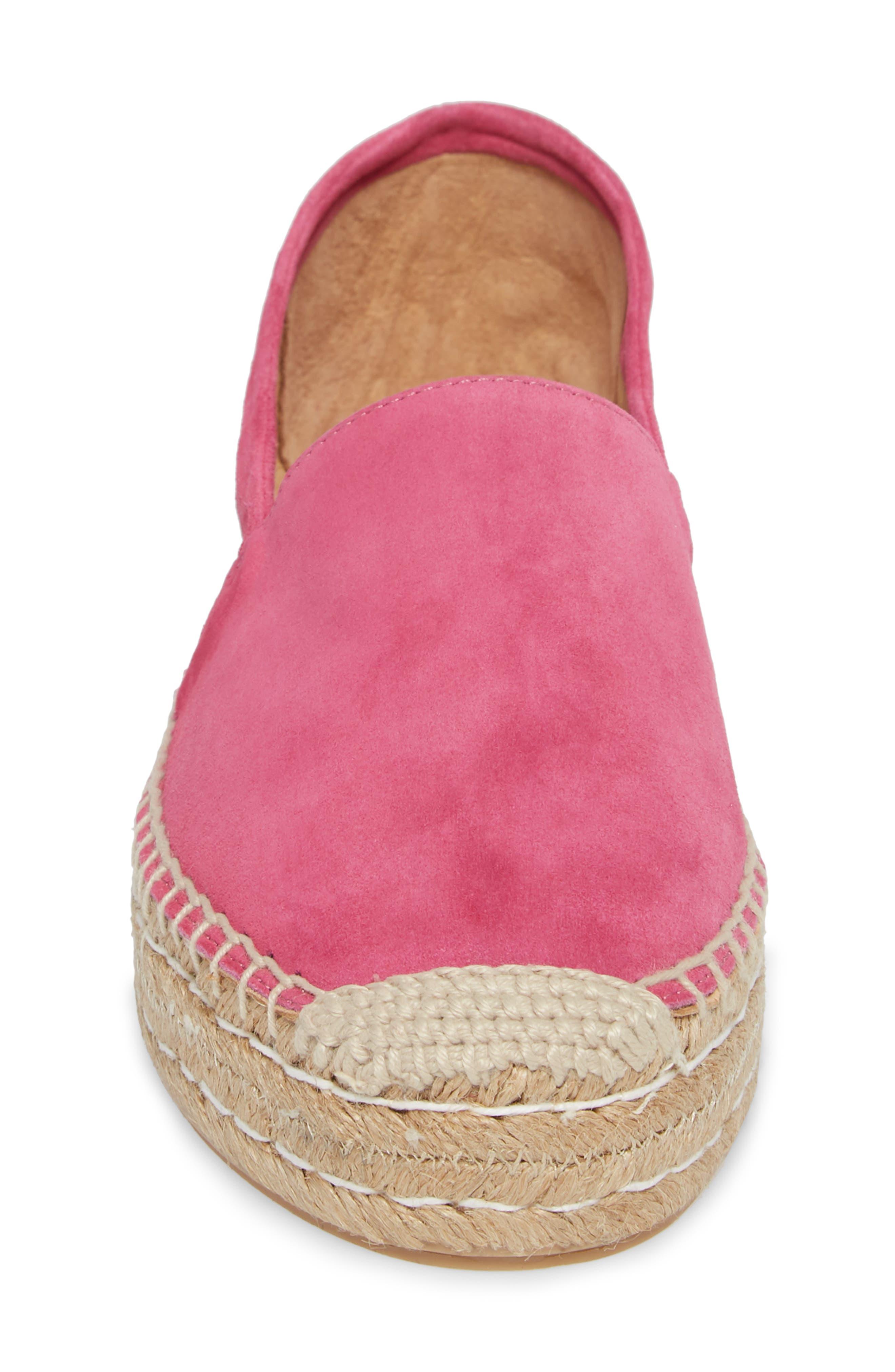 Abigail Espadrille Slip-On,                             Alternate thumbnail 4, color,                             Hot Pink Suede