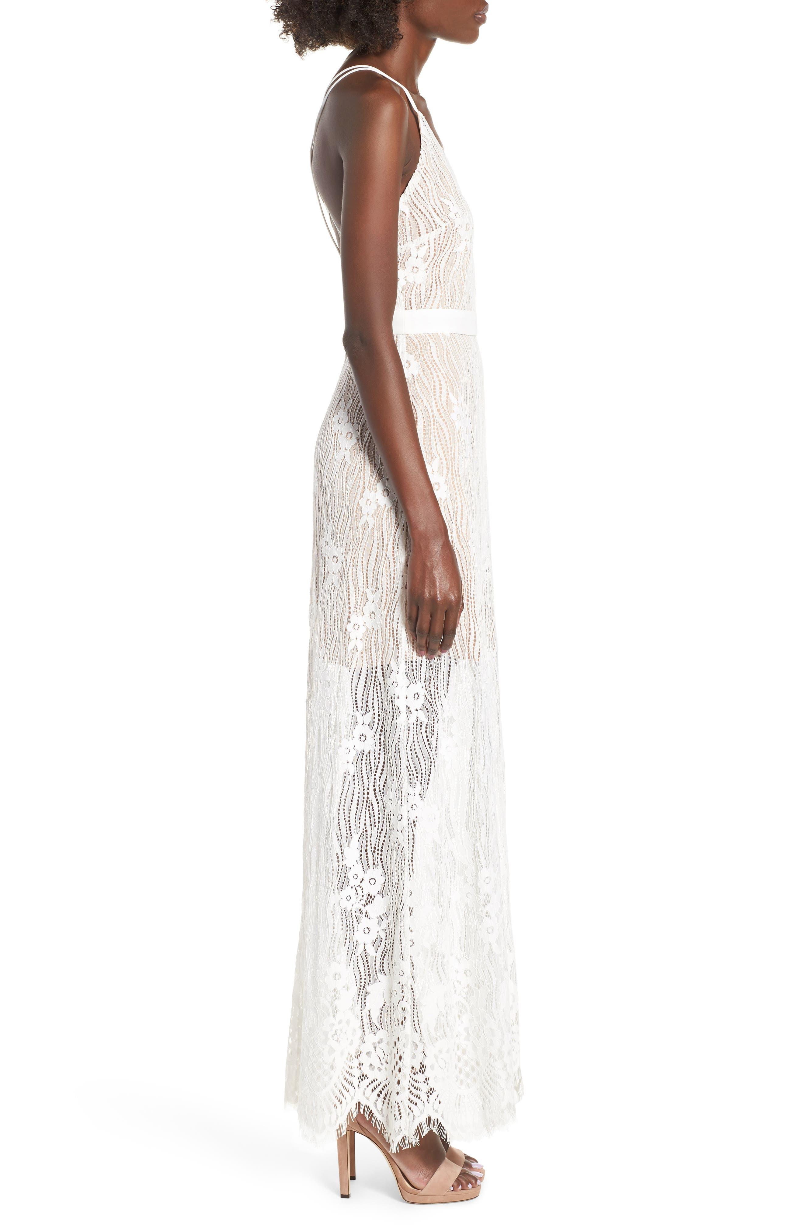 Blake Lace Maxi Dress,                             Alternate thumbnail 3, color,                             Ivory Lace