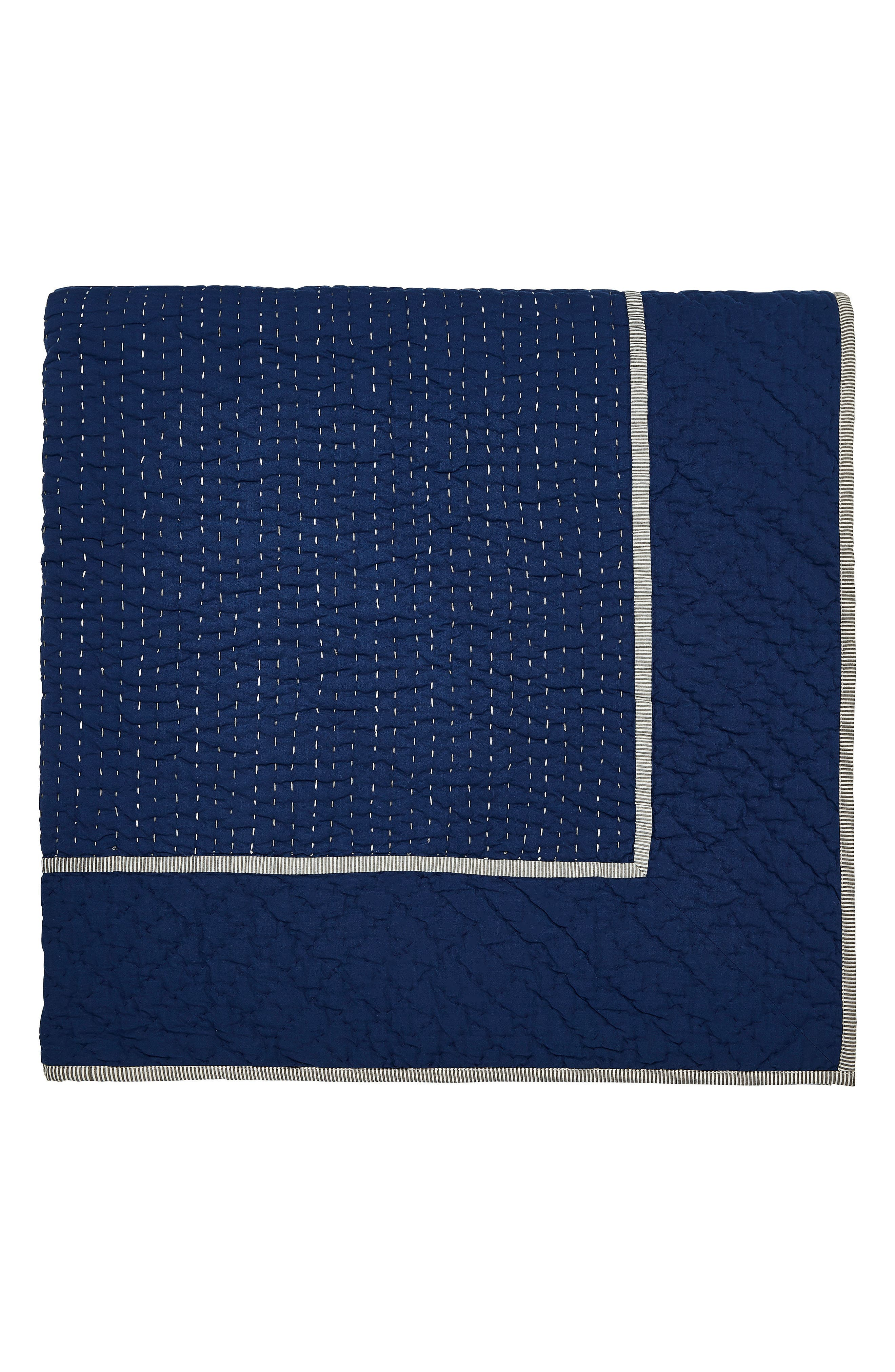 Ila Hand Stitched Kantha Quilt,                             Alternate thumbnail 7, color,                             Navy