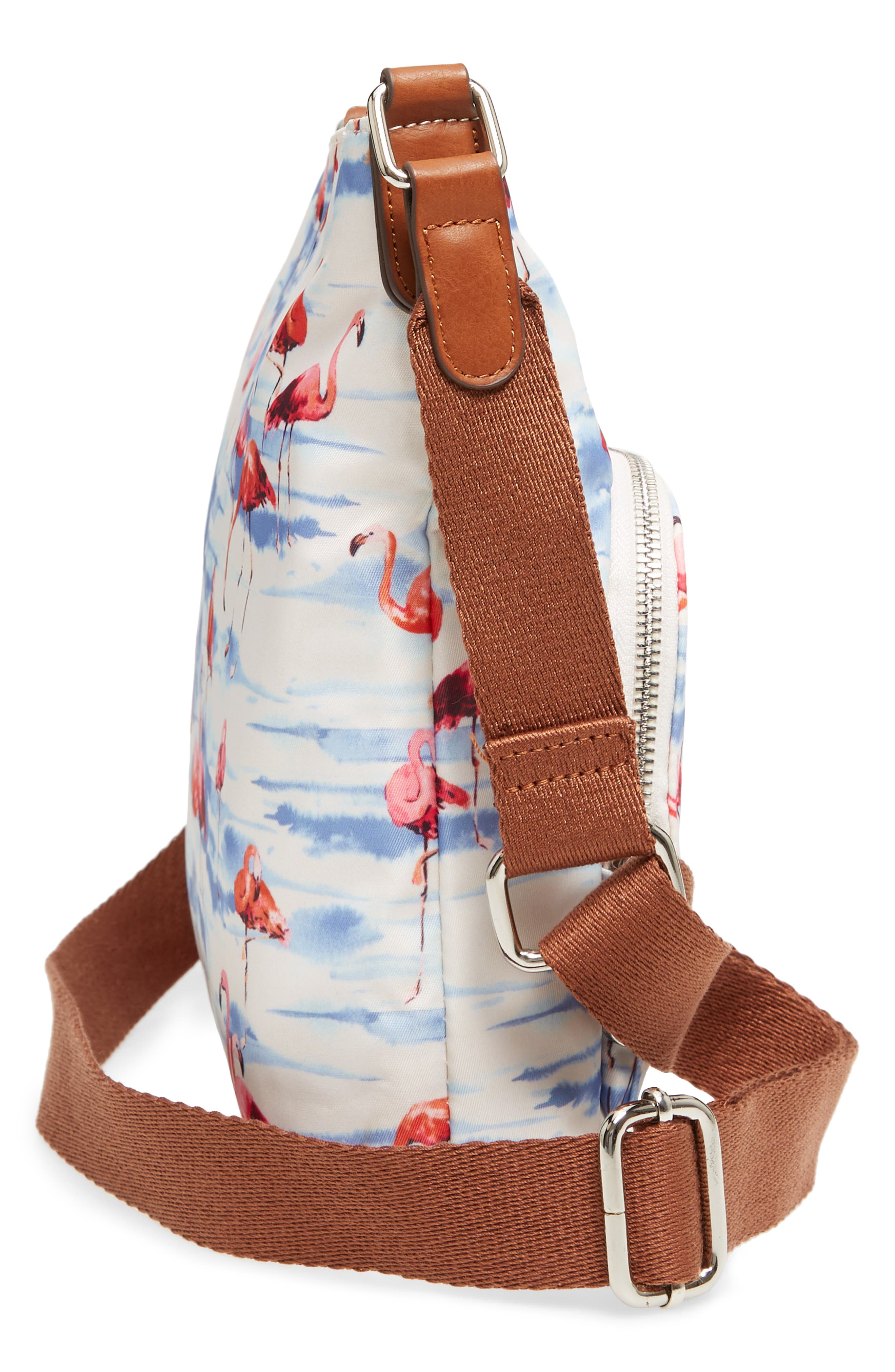 Siesta Key Waterproof Nylon Crossbody Bag,                             Alternate thumbnail 5, color,                             Flamingo Squad