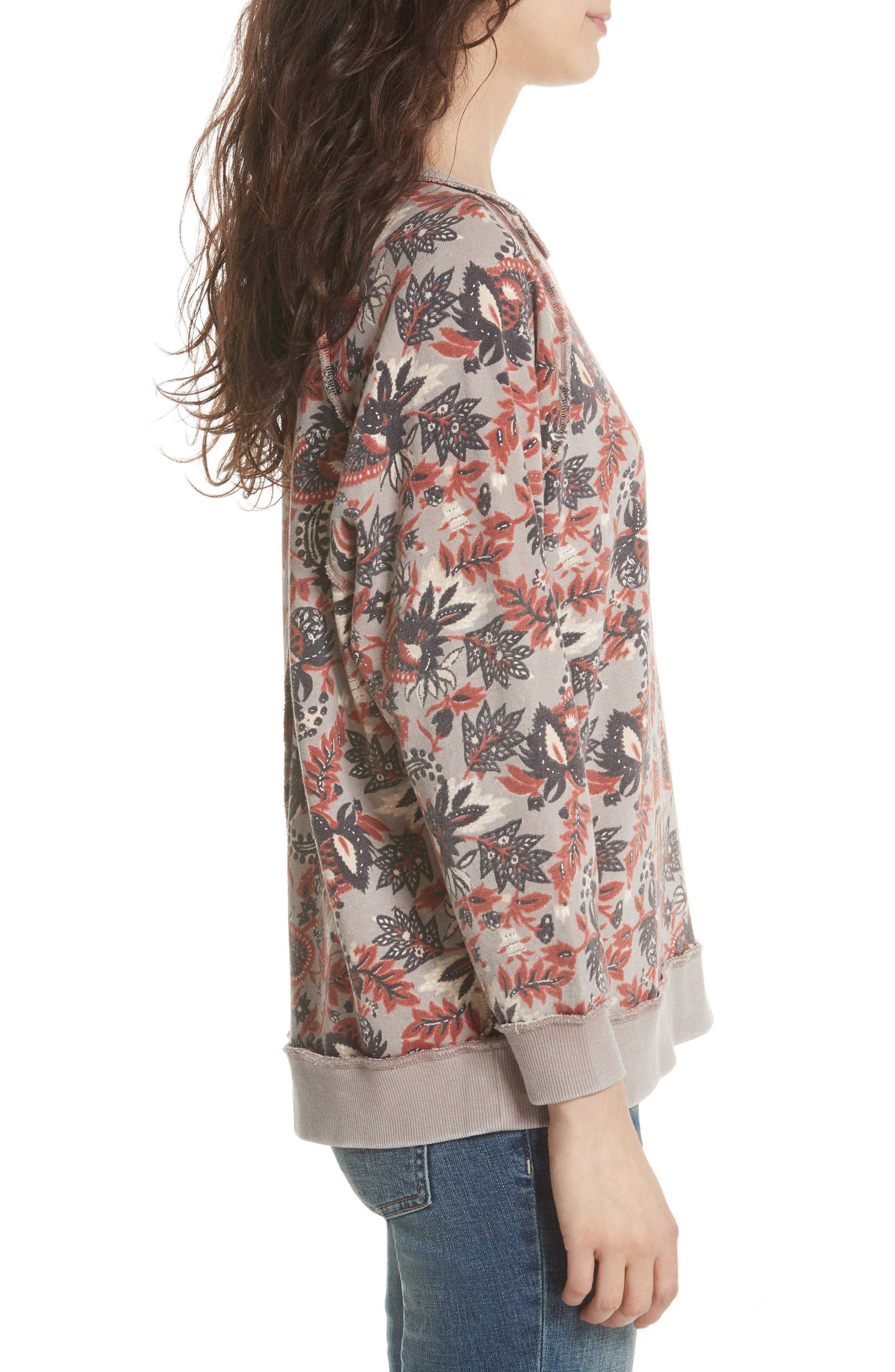 Go on Get Floral Sweatshirt,                             Alternate thumbnail 3, color,                             Brown