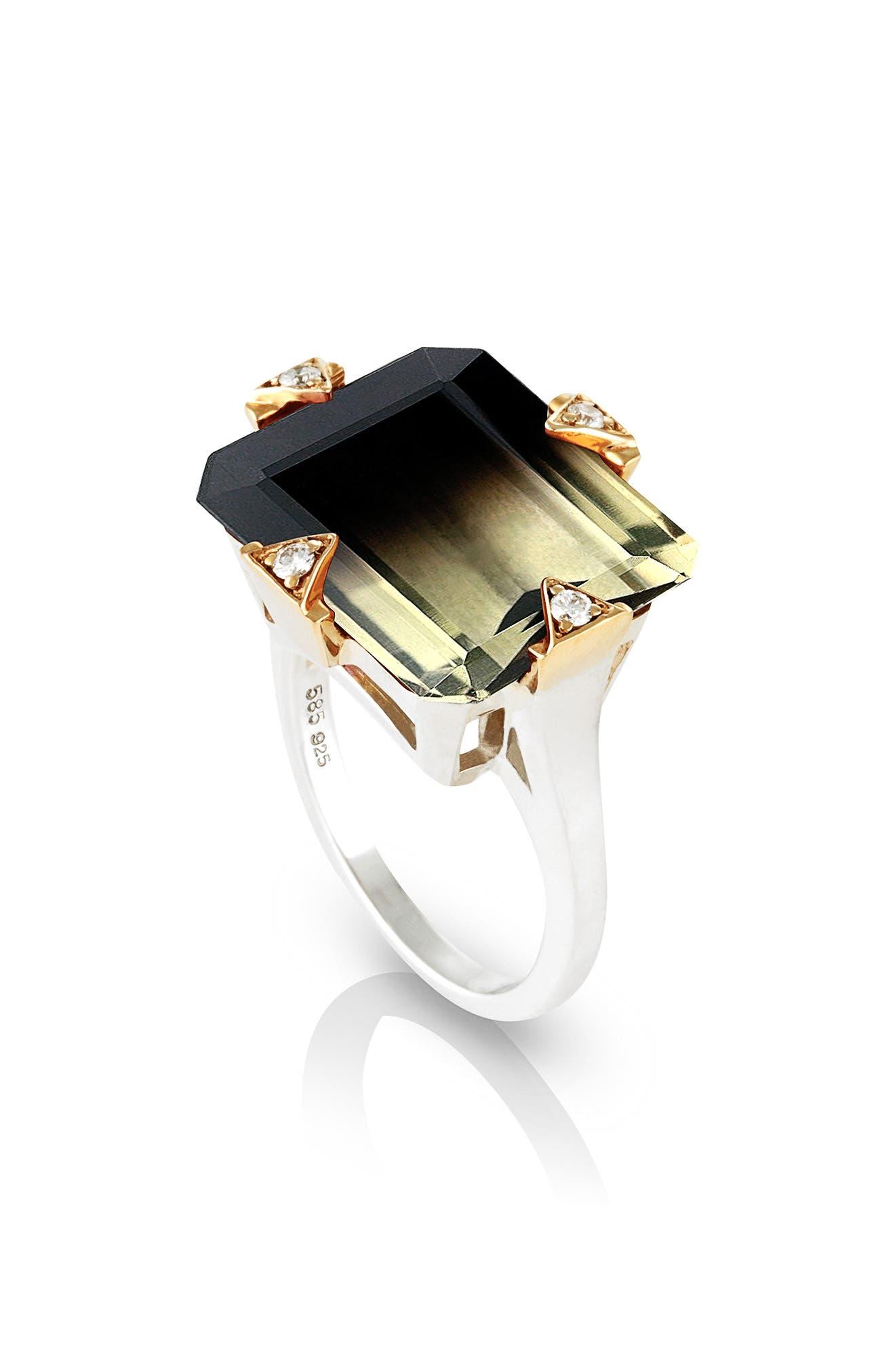 Cocktail Ring with Diamonds,                         Main,                         color, Smokey Citrine