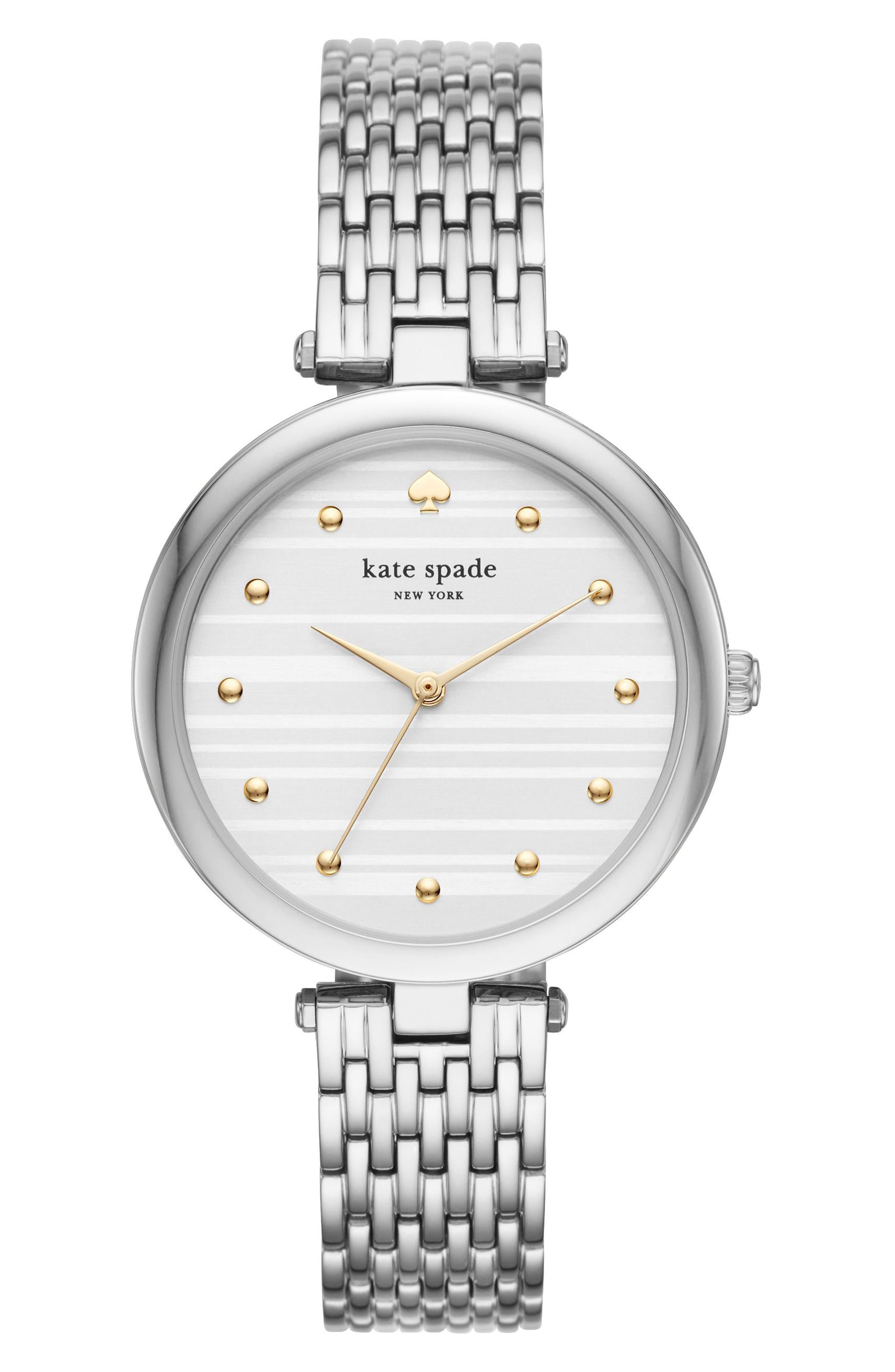 kate space new york varick bracelet watch, 36mm,                             Main thumbnail 1, color,                             Silver