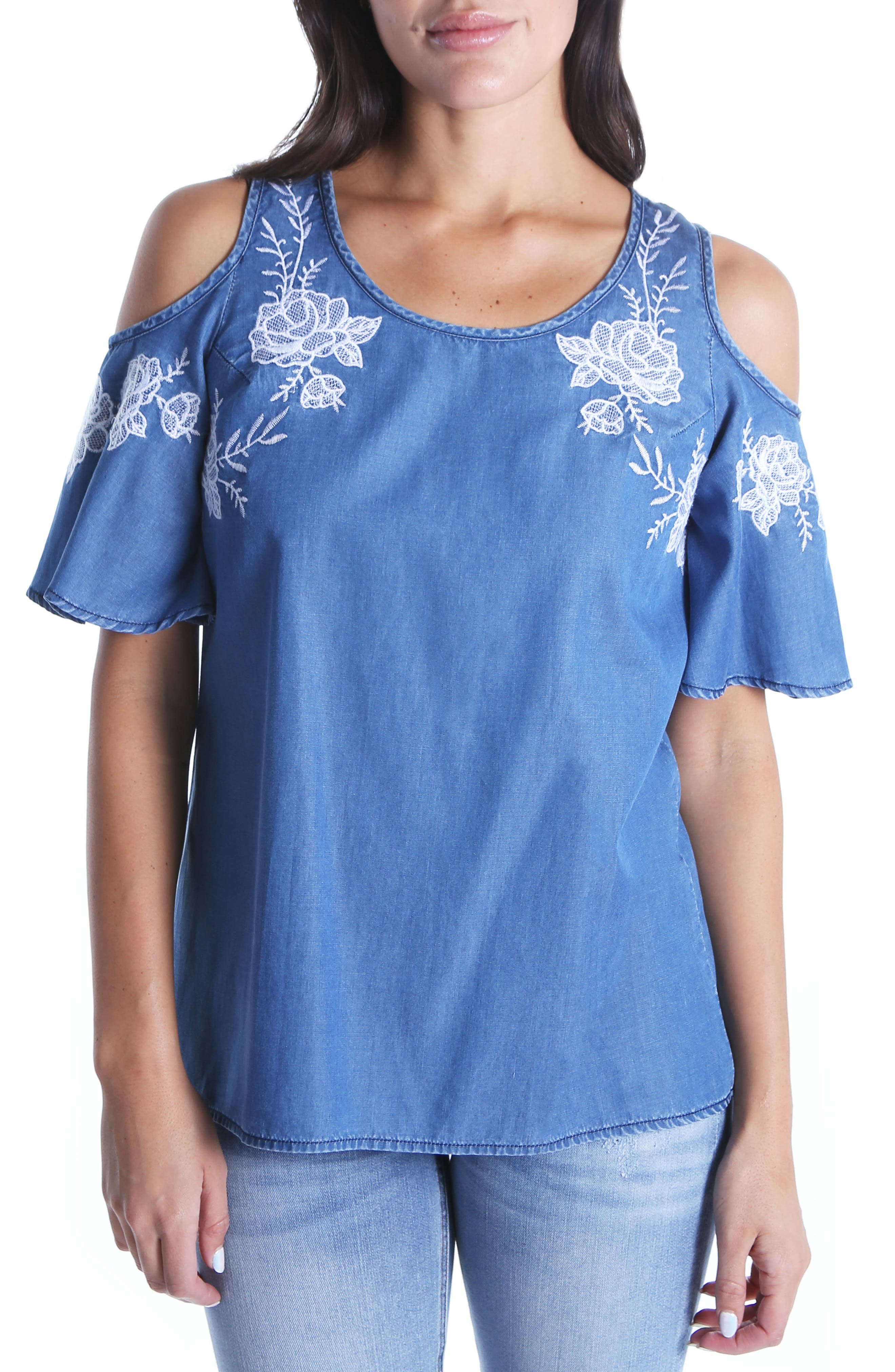 Embroidered Cold Shoulder Top,                             Main thumbnail 1, color,                             Blue