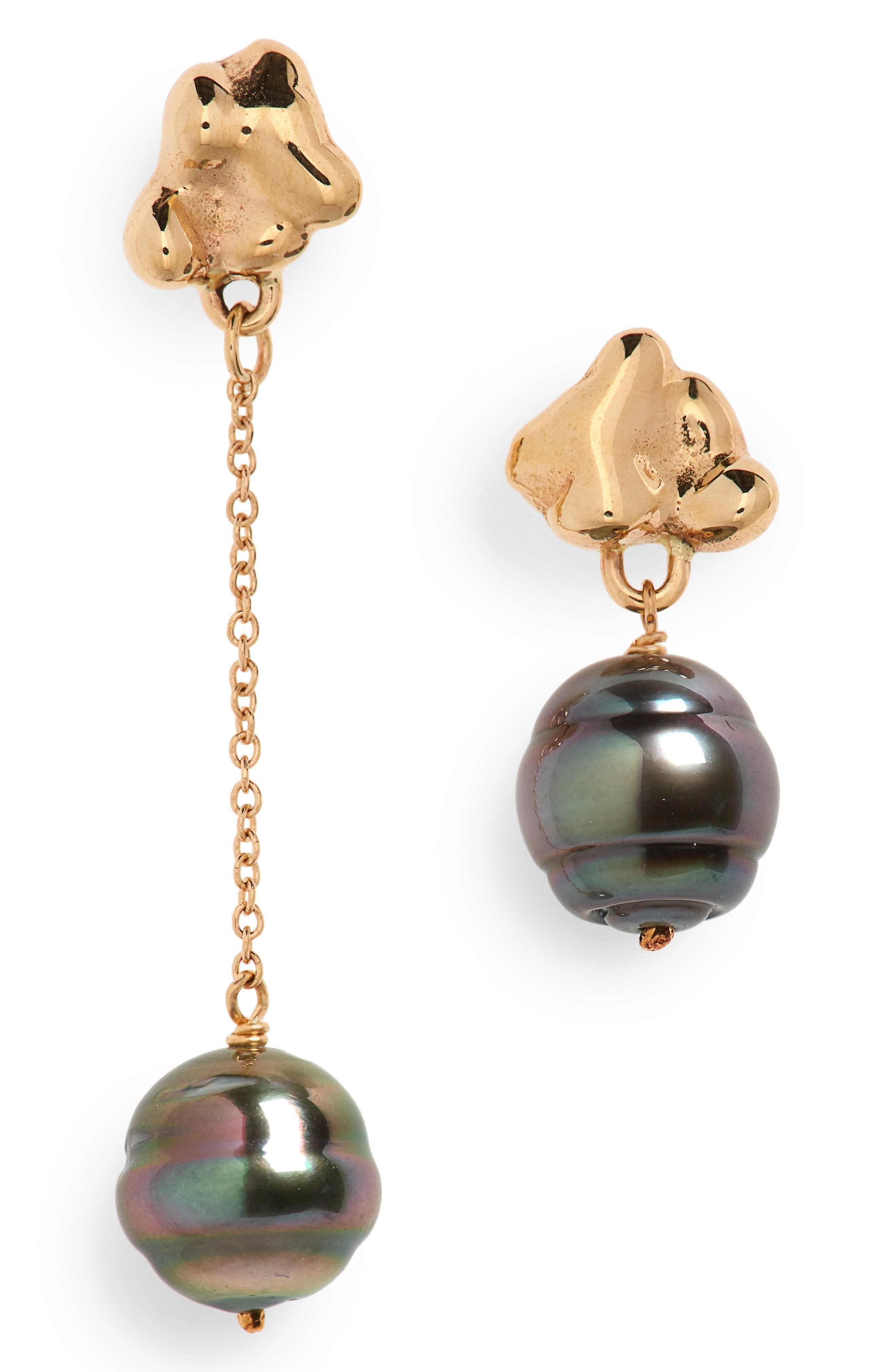 Black Pearl Drop Earrings,                         Main,                         color, Gold/ Black Pearl