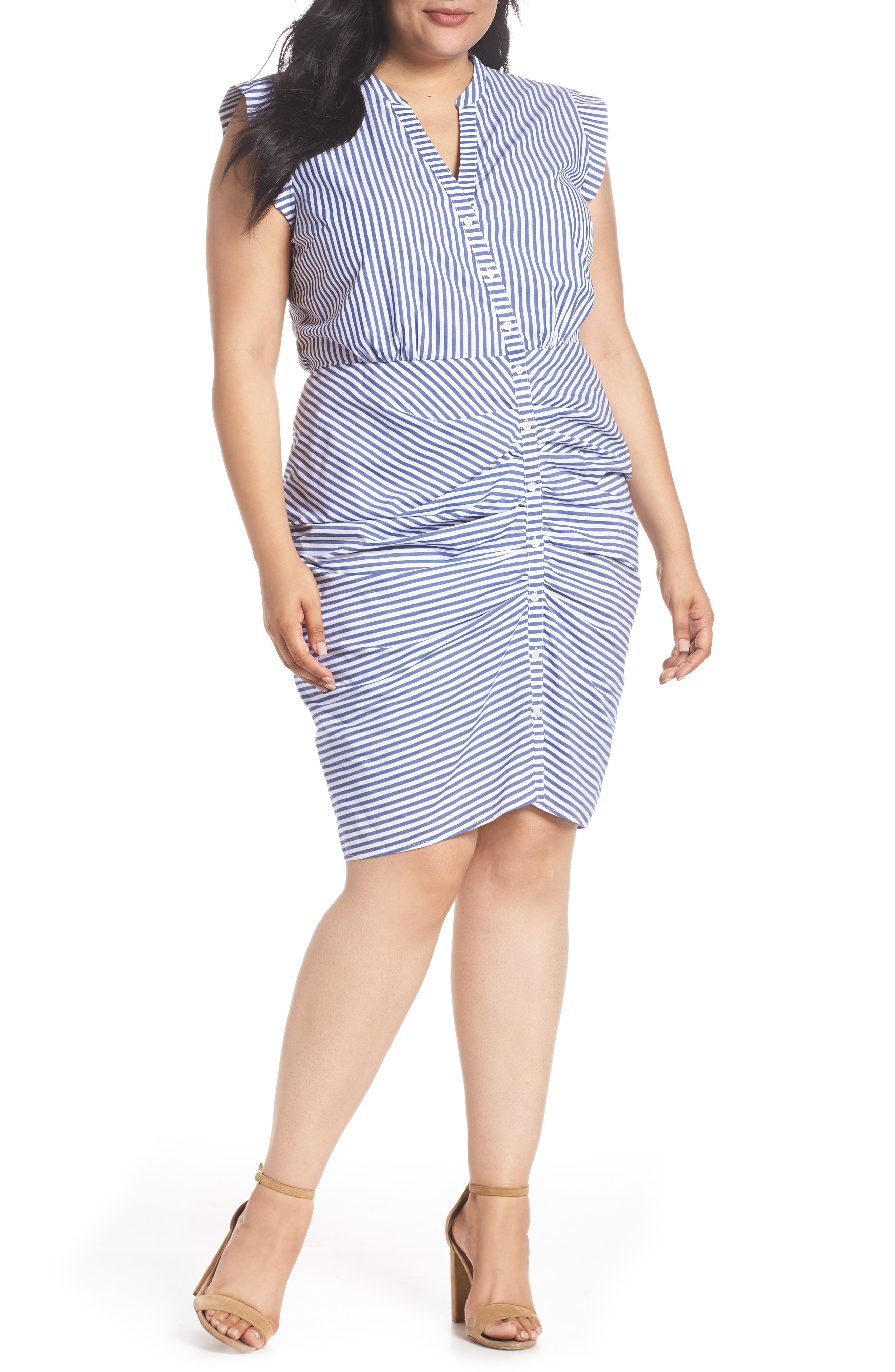 Stripe Ruched Cotton Shirtdress,                             Main thumbnail 1, color,                             Blue White Stripe
