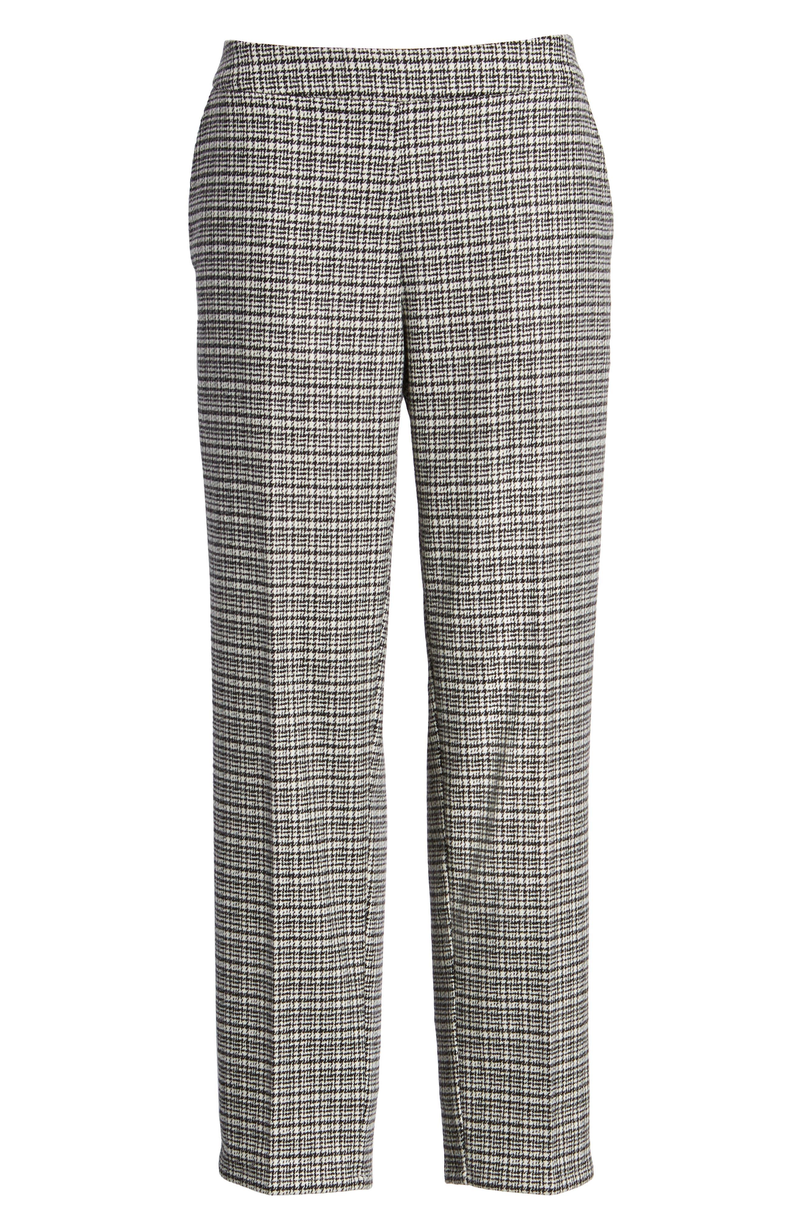 Slim Ankle Pants,                             Alternate thumbnail 6, color,                             Black/ White