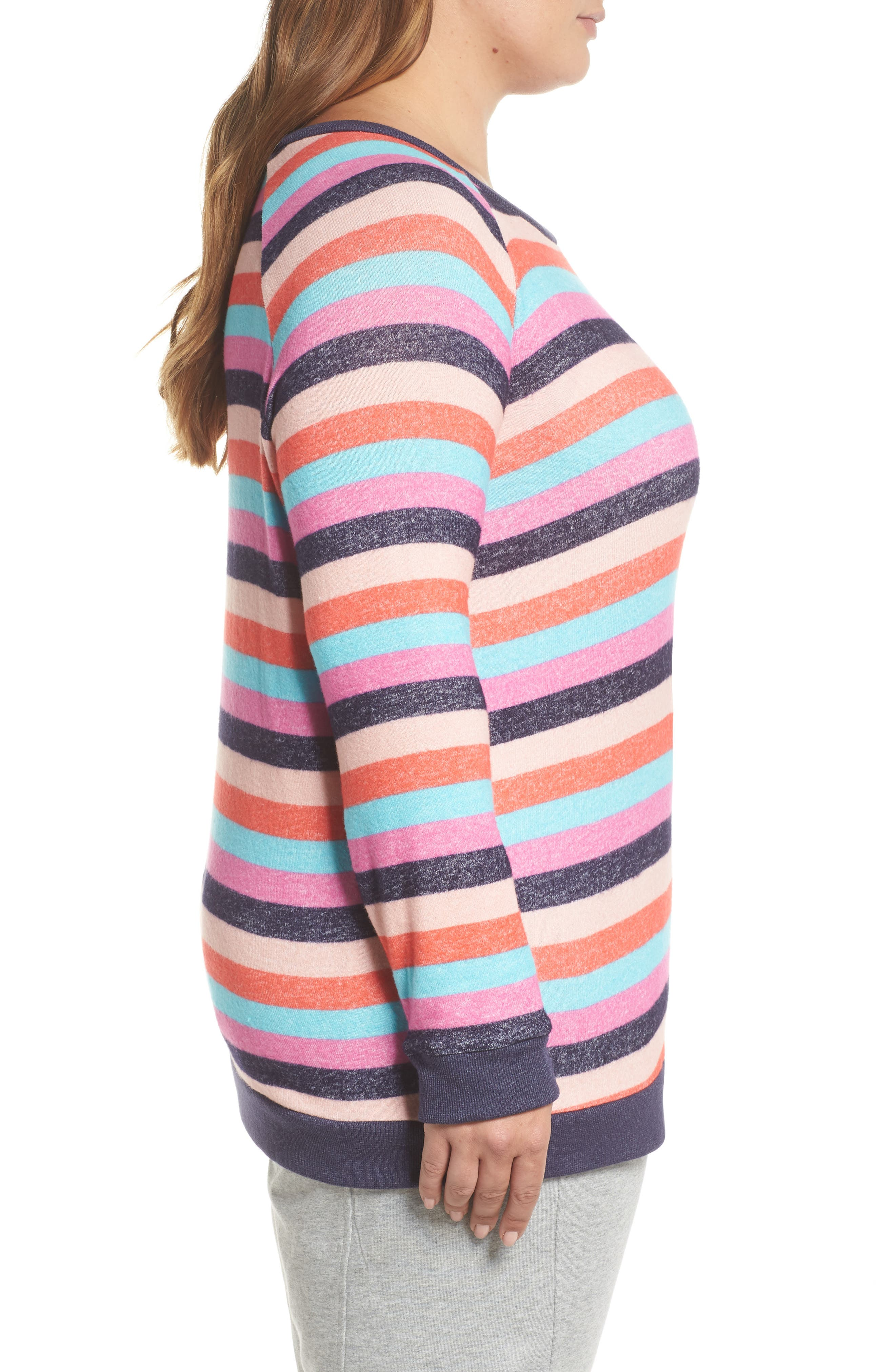 Cozy Crew Lounge Sweater,                             Alternate thumbnail 3, color,                             Navy Dusk Milli Multi Stripe