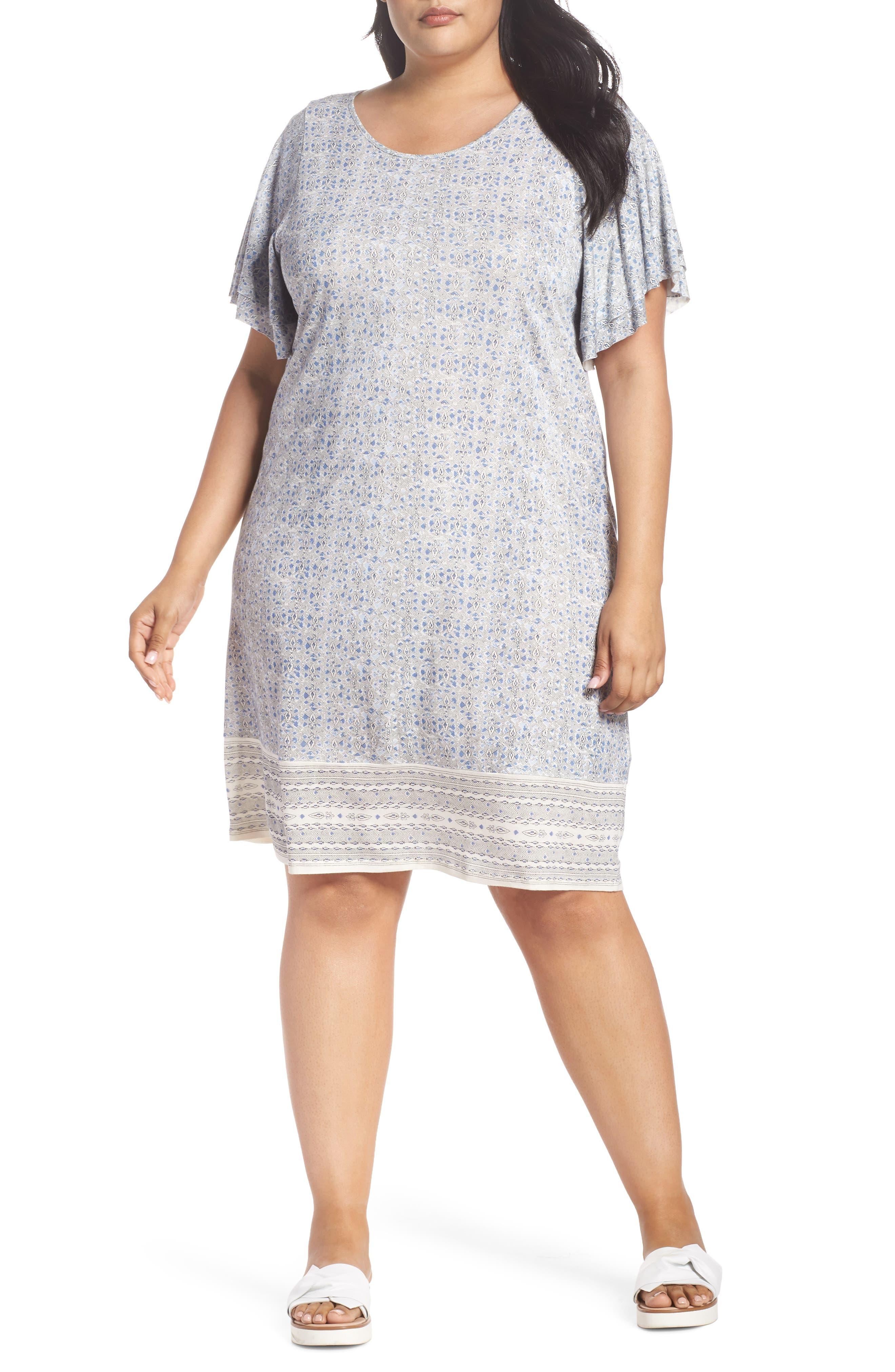 Ruffle Sleeve Print Shift Dress,                         Main,                         color, Blue Multi