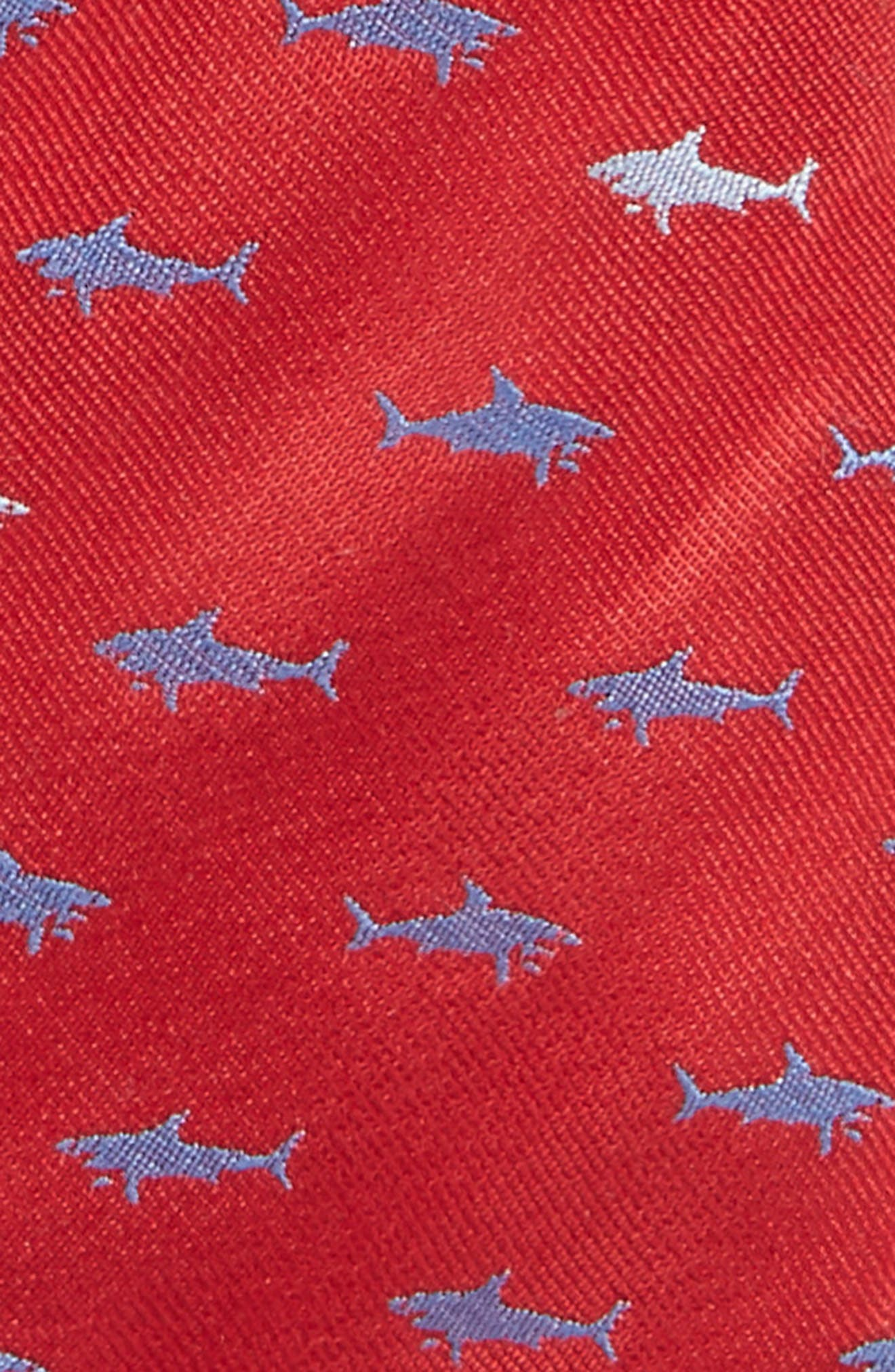 Shark Embroidered Silk Tie,                             Alternate thumbnail 2, color,                             Red