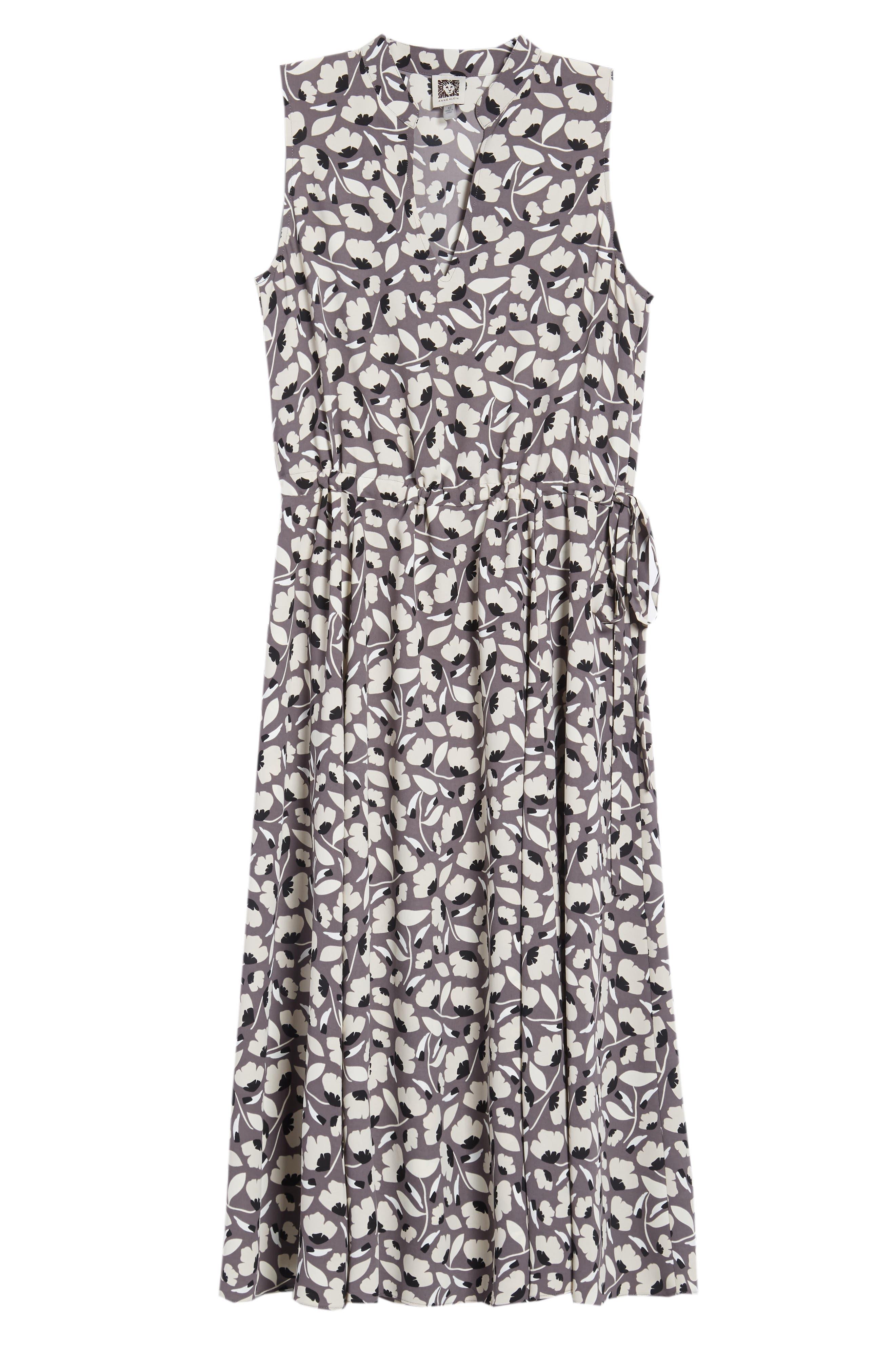 Floral Drawstring Dress,                             Alternate thumbnail 7, color,                             Nantucket Grey/ Oyster Shell