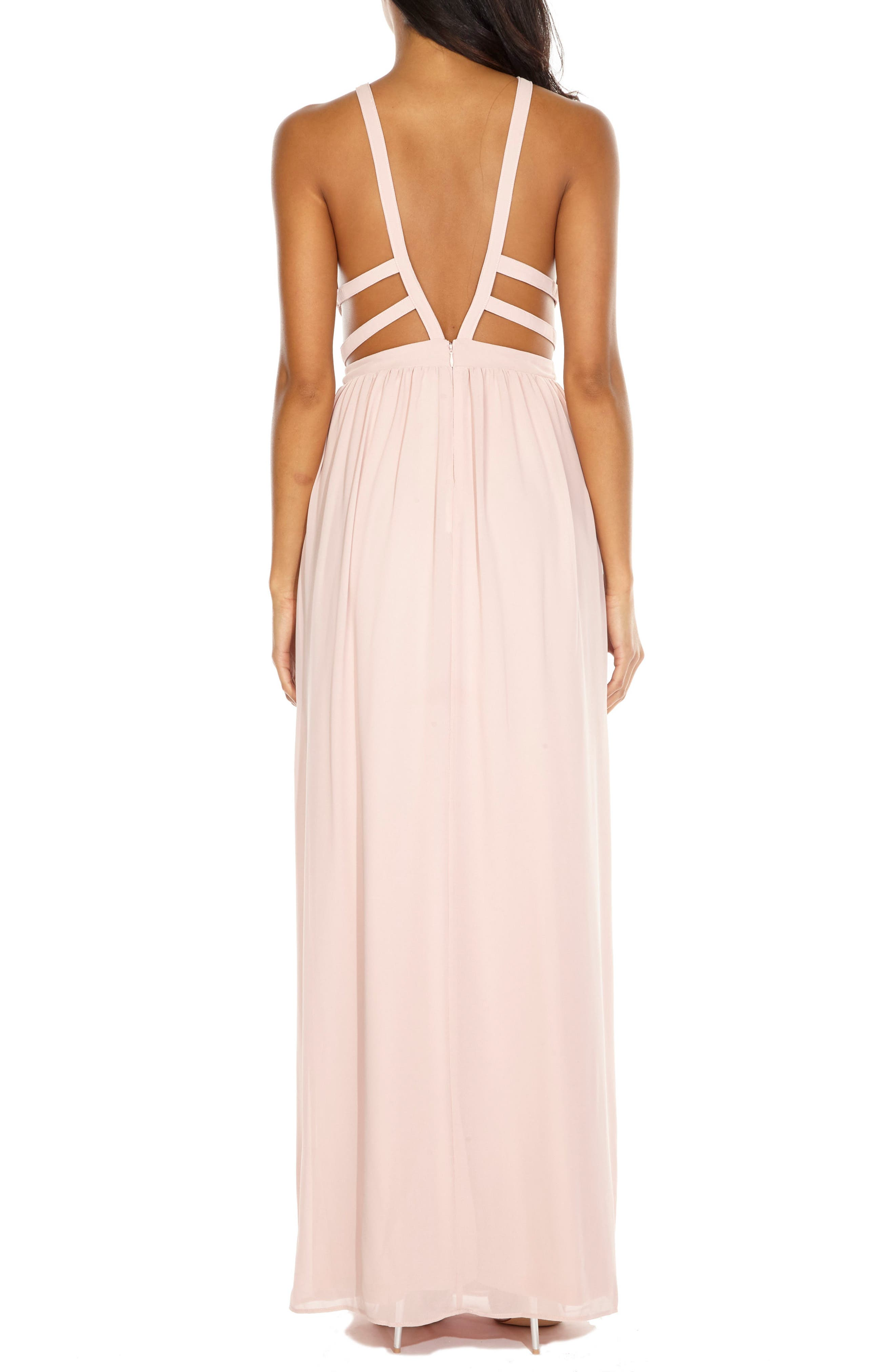 Evanthe Cutout Chiffon Gown,                             Alternate thumbnail 2, color,                             Pearl Pink