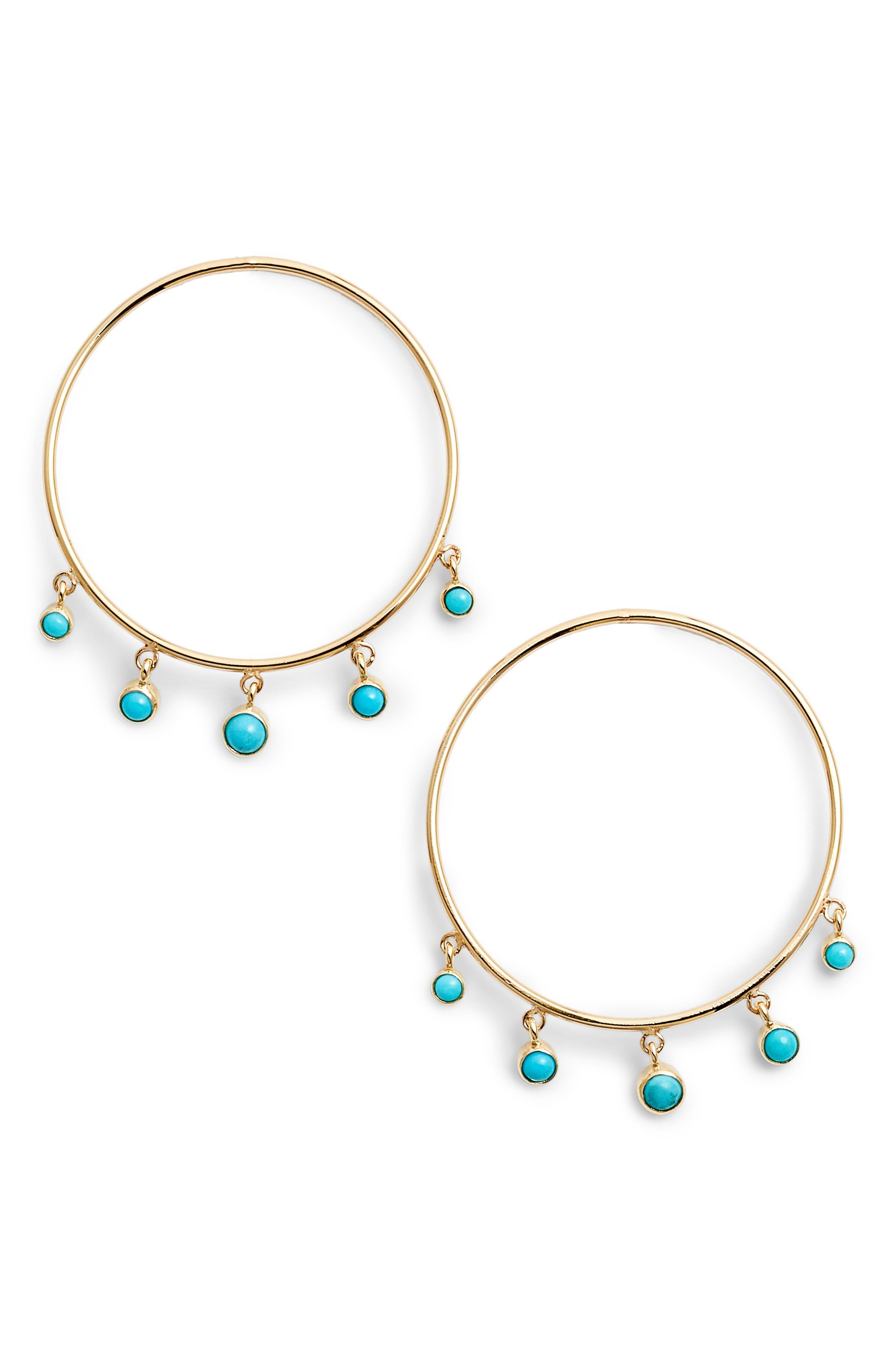 Zoe Chicco Dangling Turquoise Hoop Earrings,                             Main thumbnail 1, color,                             Yellow Gold