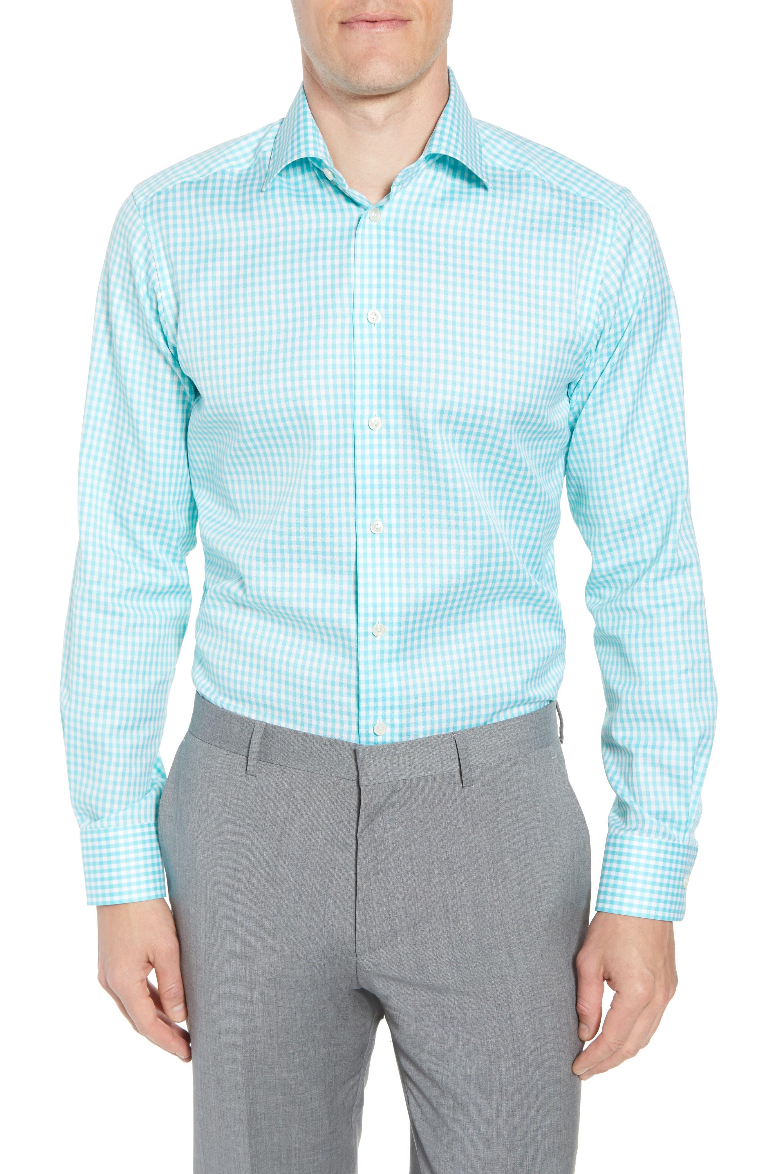 Contemporary Fit Check Dress Shirt,                             Main thumbnail 1, color,                             Teal