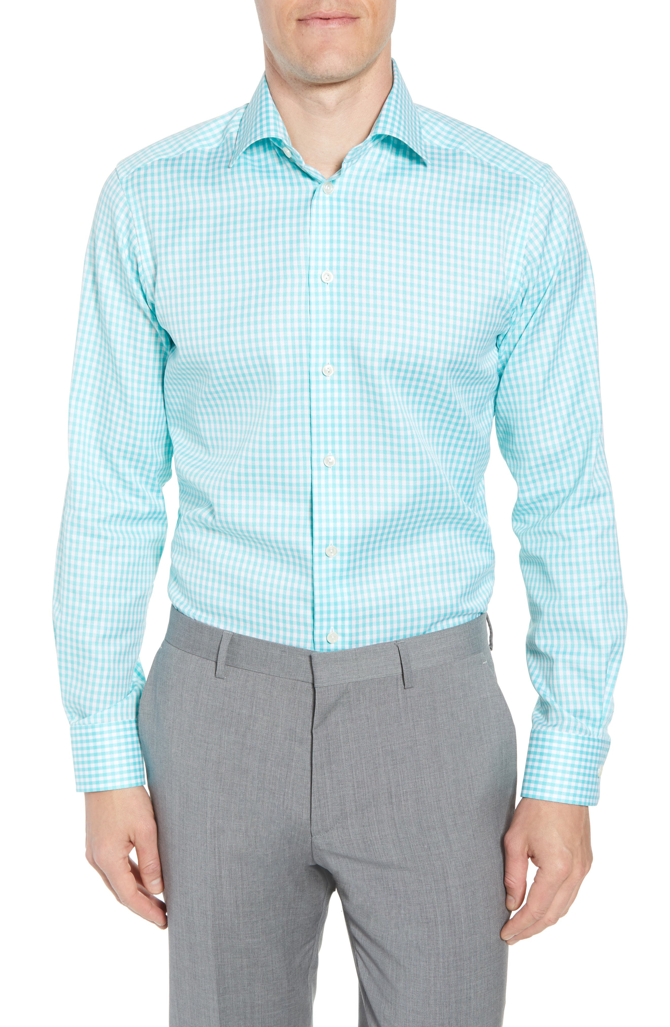 Contemporary Fit Check Dress Shirt,                         Main,                         color, Teal
