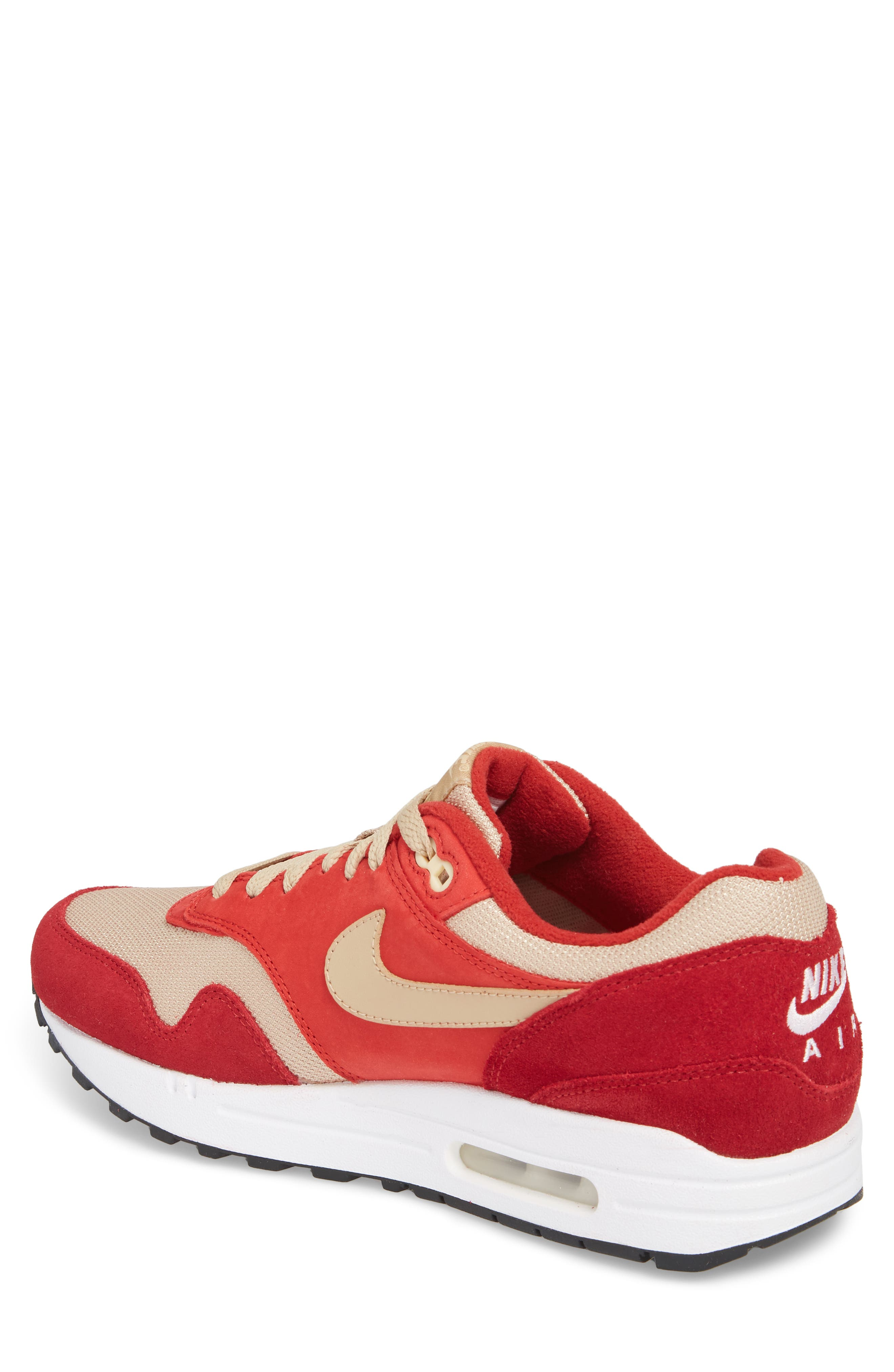 Air Max 1 Premium Retro Sneaker,                             Alternate thumbnail 2, color,                             Red/ Mushroom-Red-Vanilla