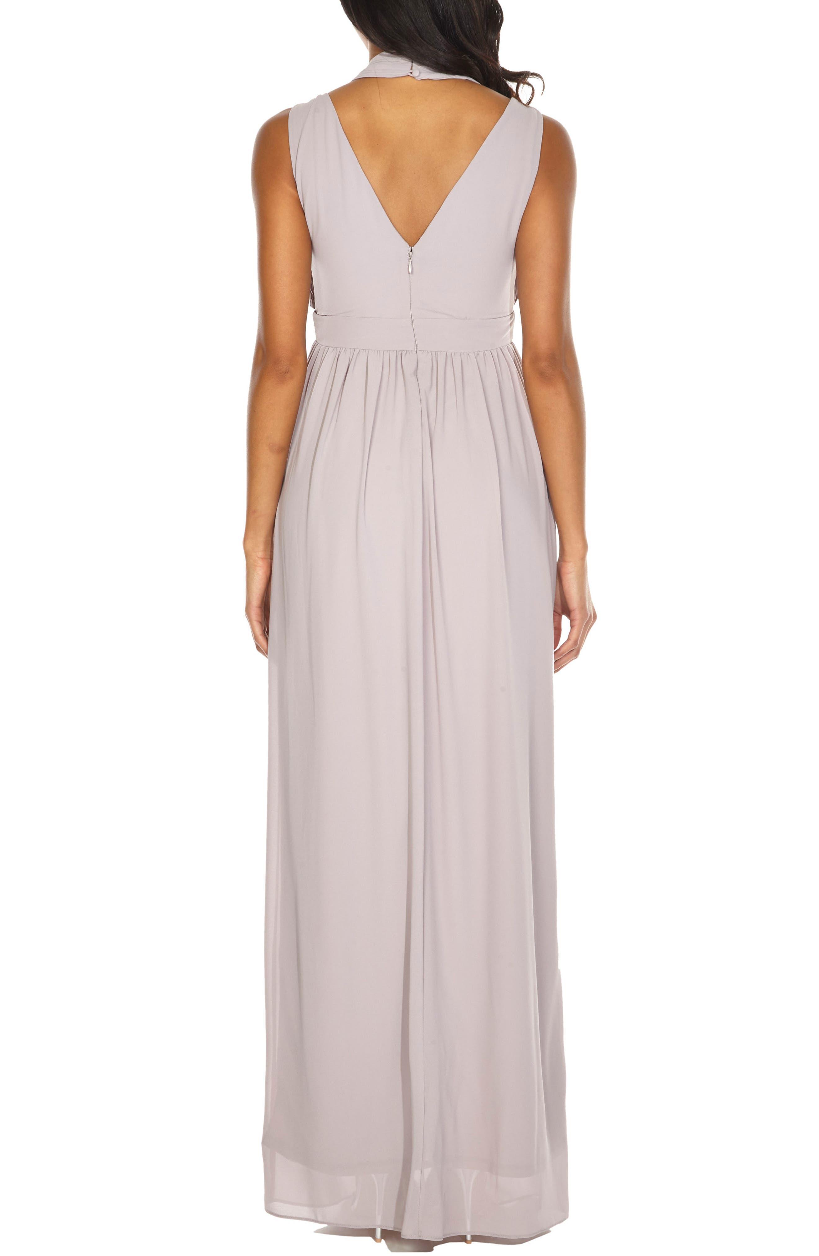 Arley Chiffon Gown,                             Alternate thumbnail 2, color,                             Lavender Fog