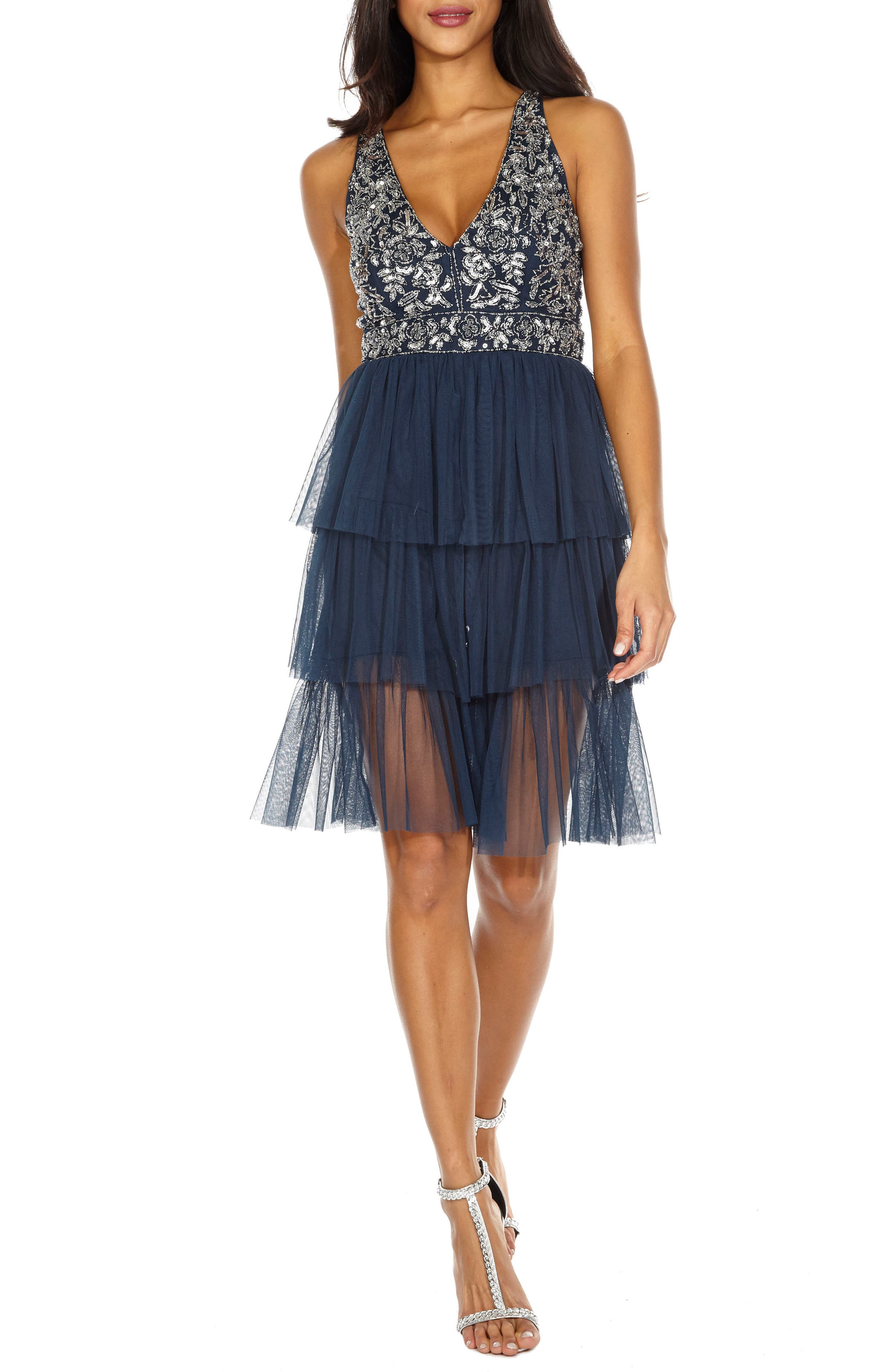 Embellished Tiered Fit & Flare Dress,                             Main thumbnail 1, color,                             Navy
