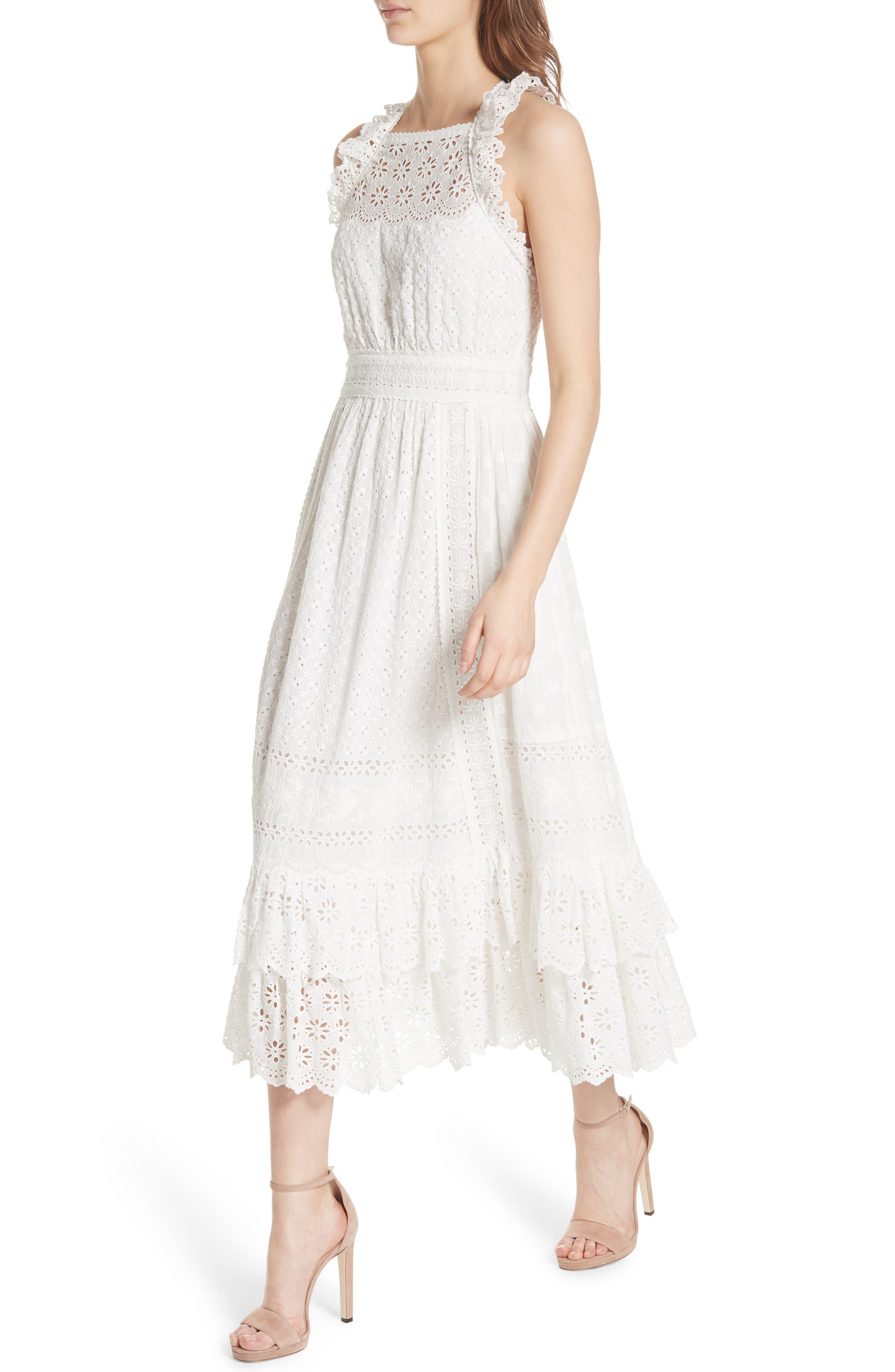 Willow Eyelet Dress,                             Alternate thumbnail 4, color,                             Blanc