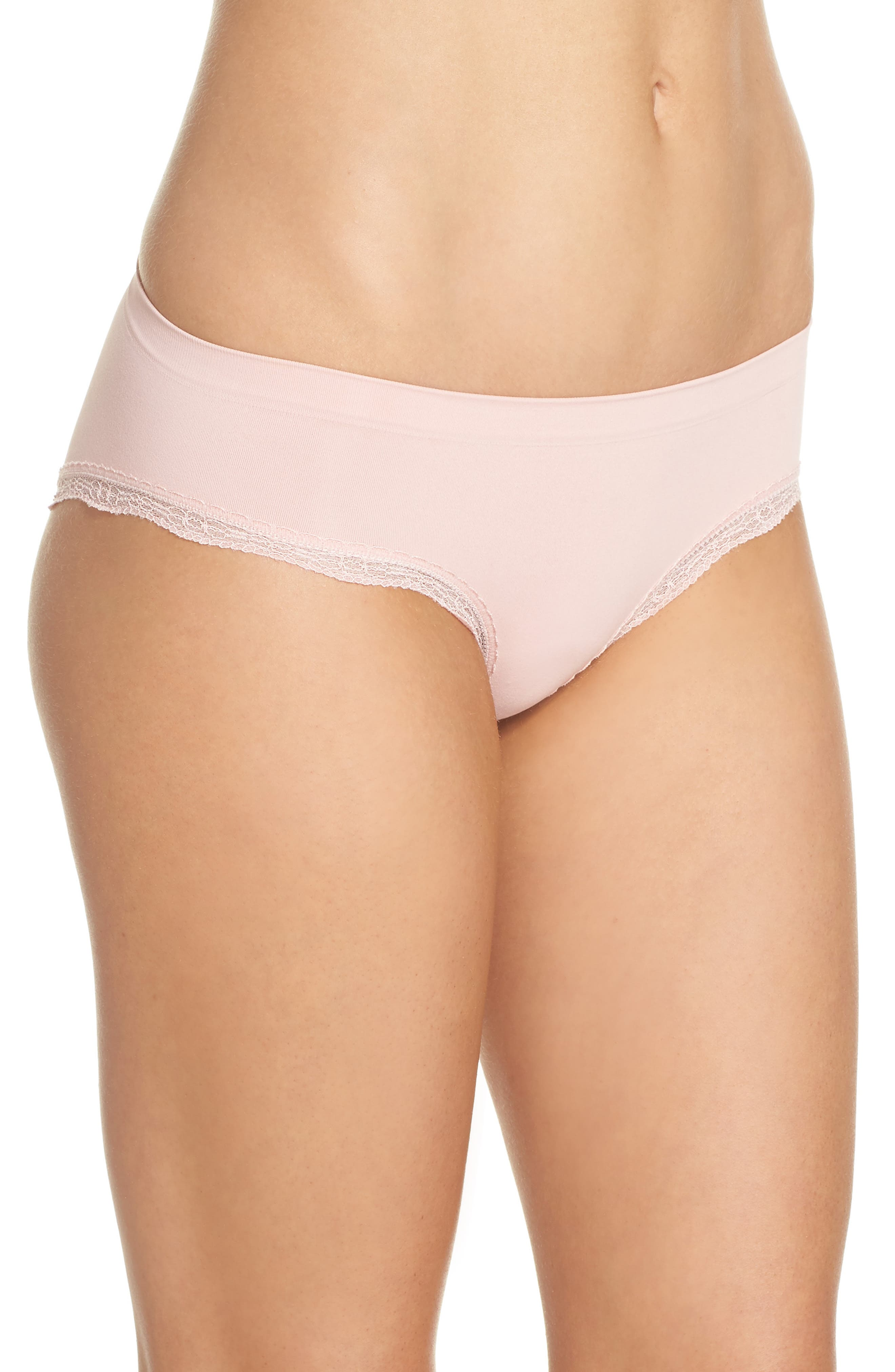 Lace Trim Seamless Hipster Briefs,                             Alternate thumbnail 3, color,                             Pink Silver