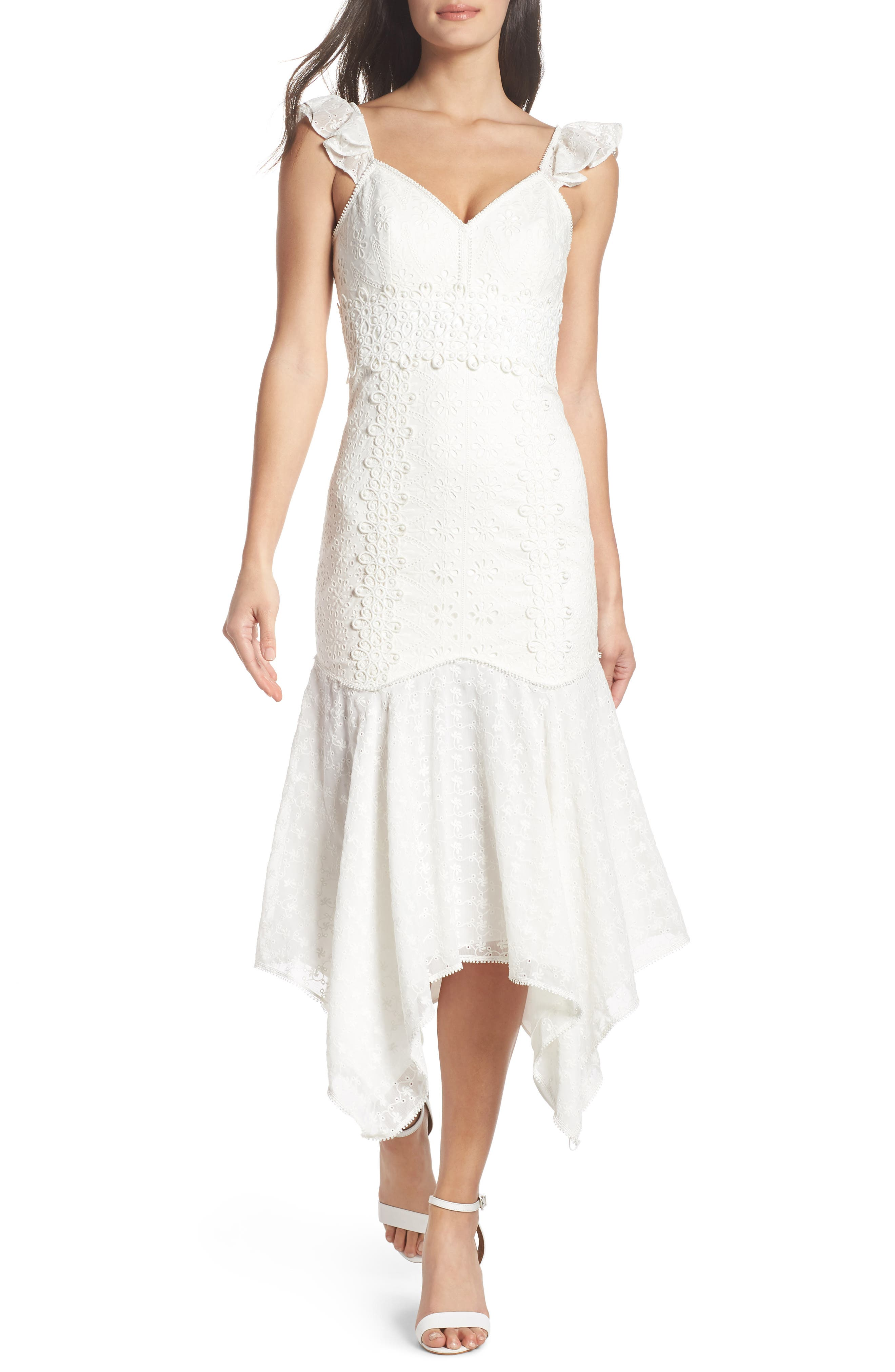 Broderie Anglaise Dress,                             Main thumbnail 1, color,                             White