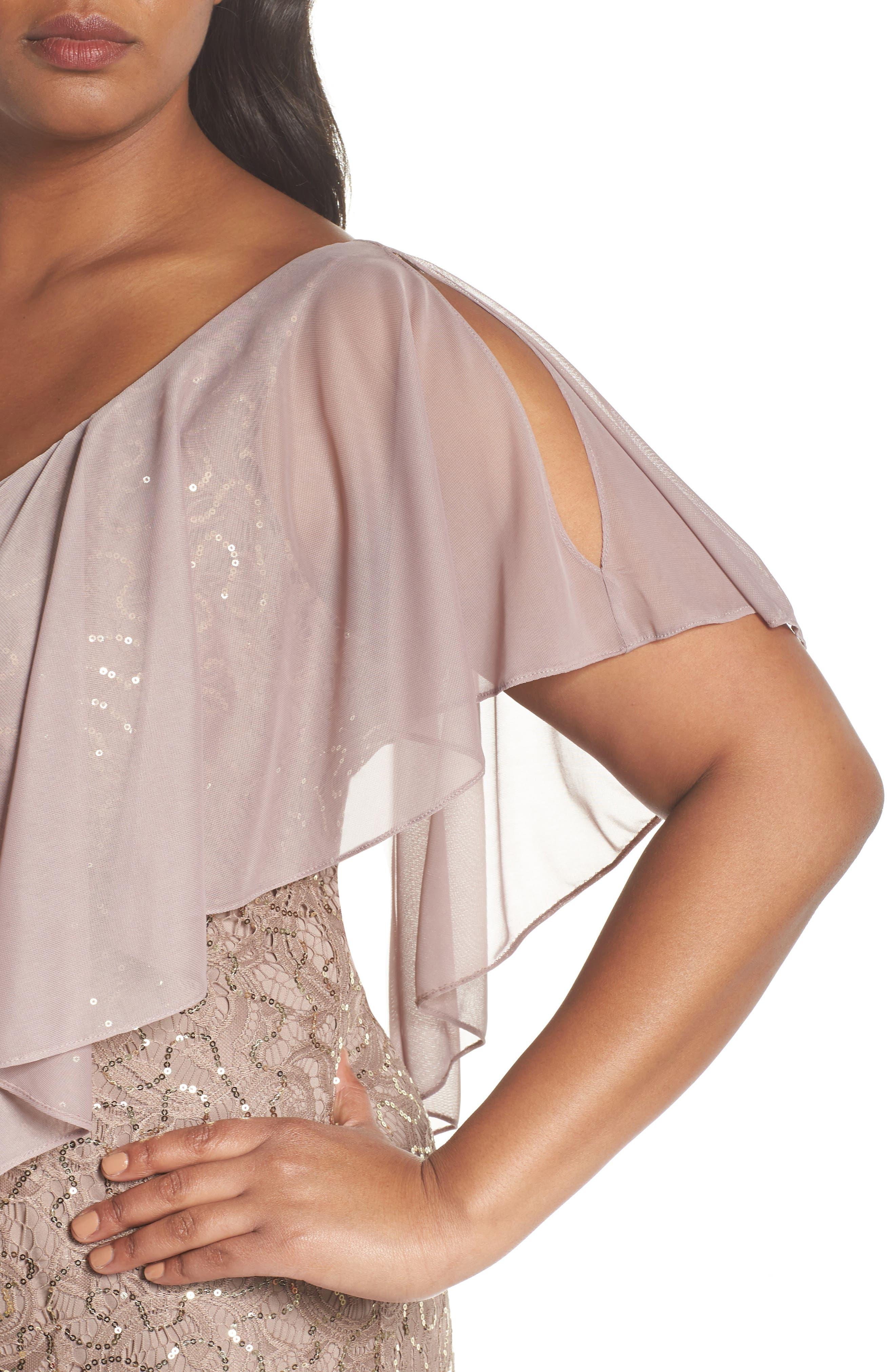 Capelet Sequin Lace A-Line Gown,                             Alternate thumbnail 4, color,                             Mocha
