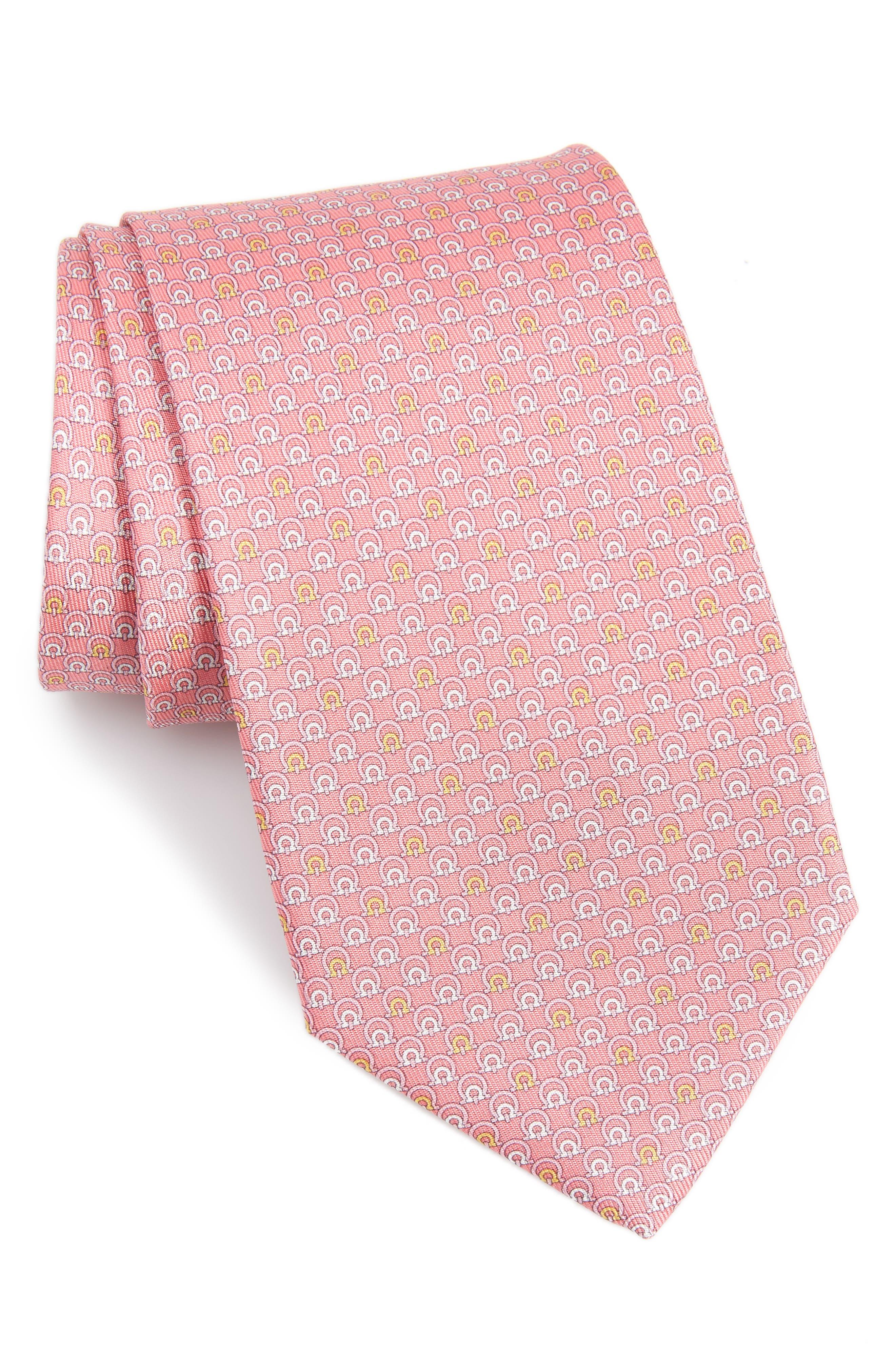 Estro Print Silk Tie,                             Main thumbnail 1, color,                             Pink