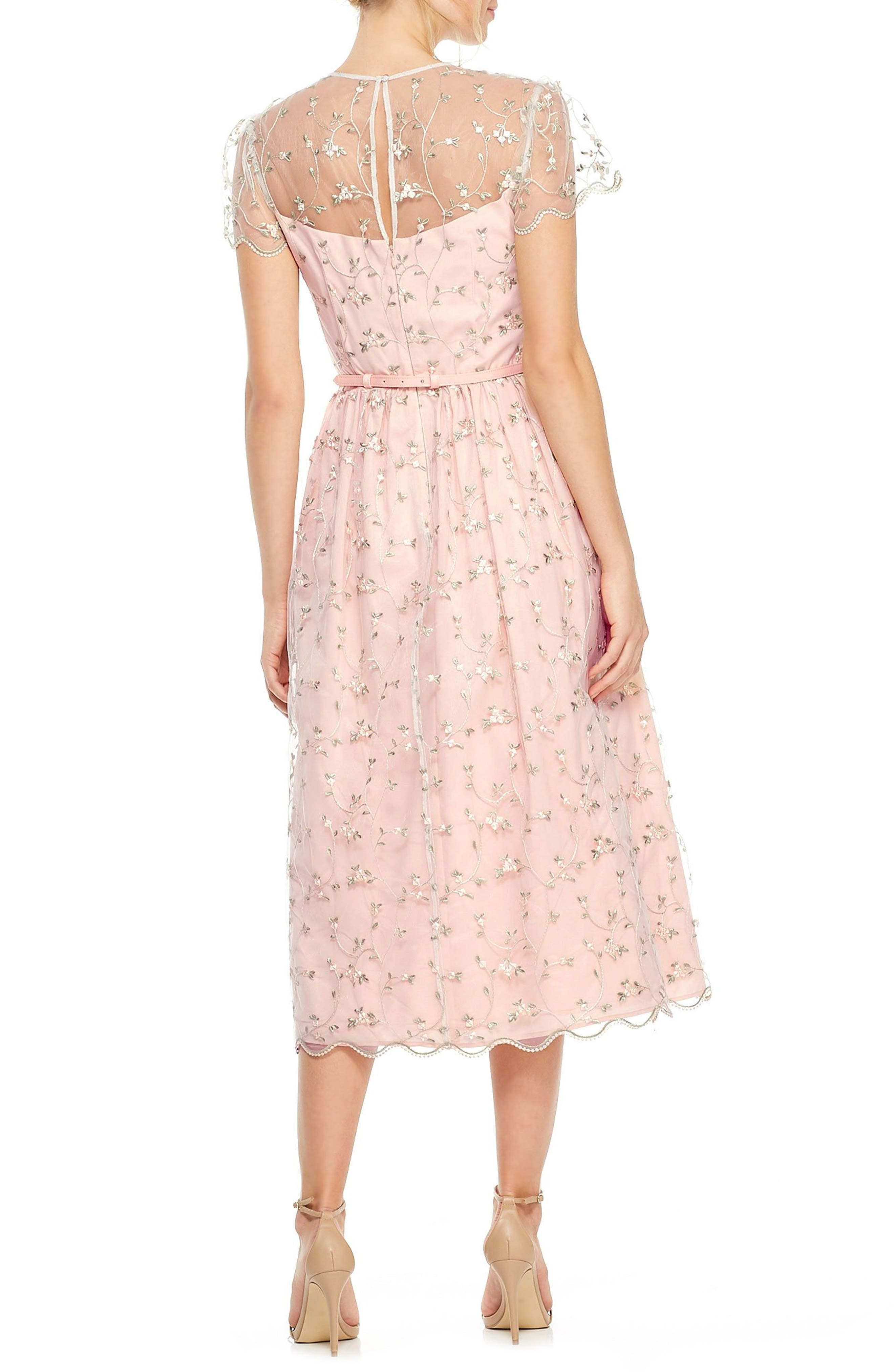 Penelope Baby Bud Embroidered Fit & Flare Midi Dress,                             Alternate thumbnail 3, color,                             Cream Combo
