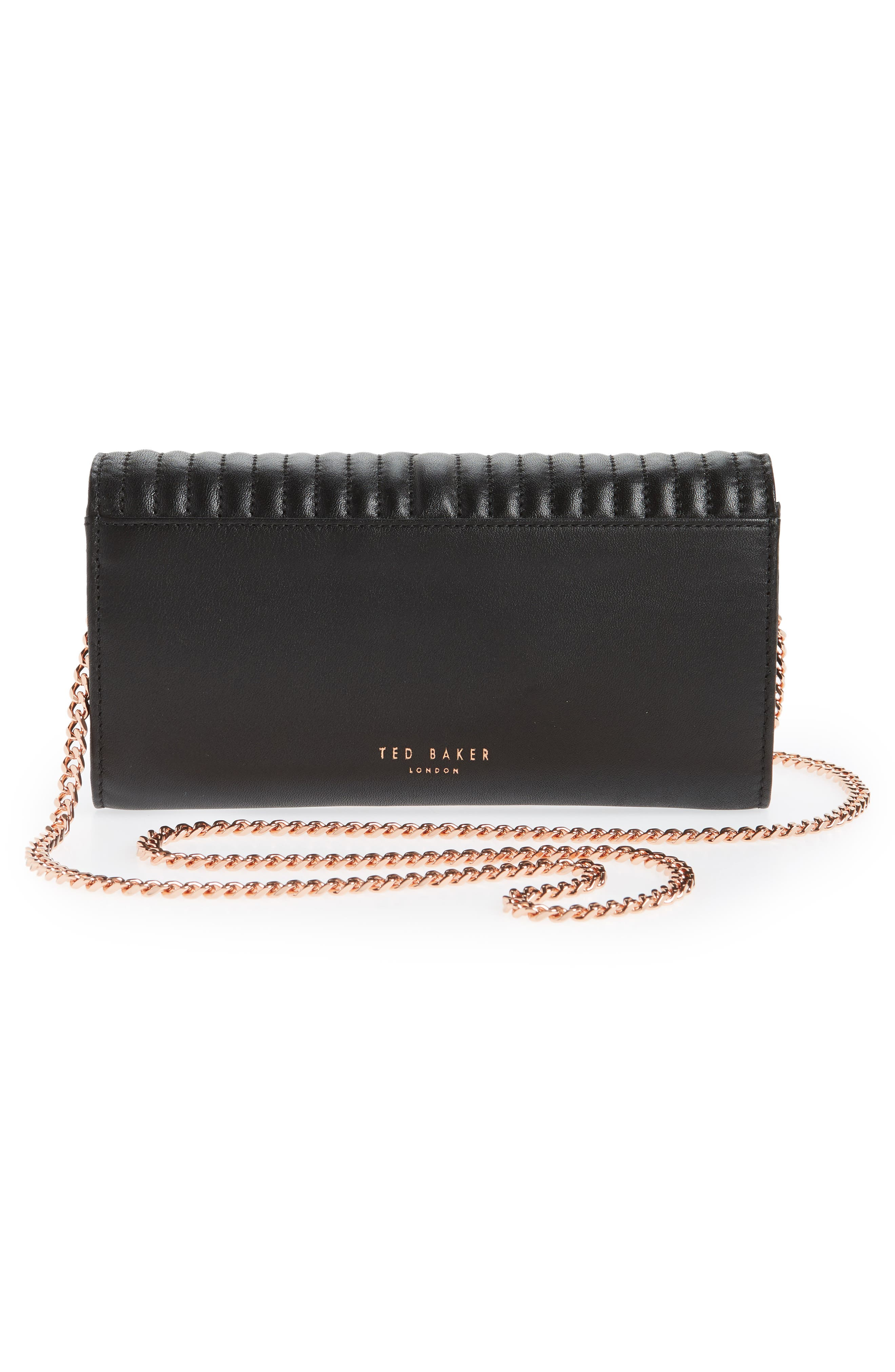 Quilted Bow Leather Matinée Wallet,                             Alternate thumbnail 4, color,                             Black