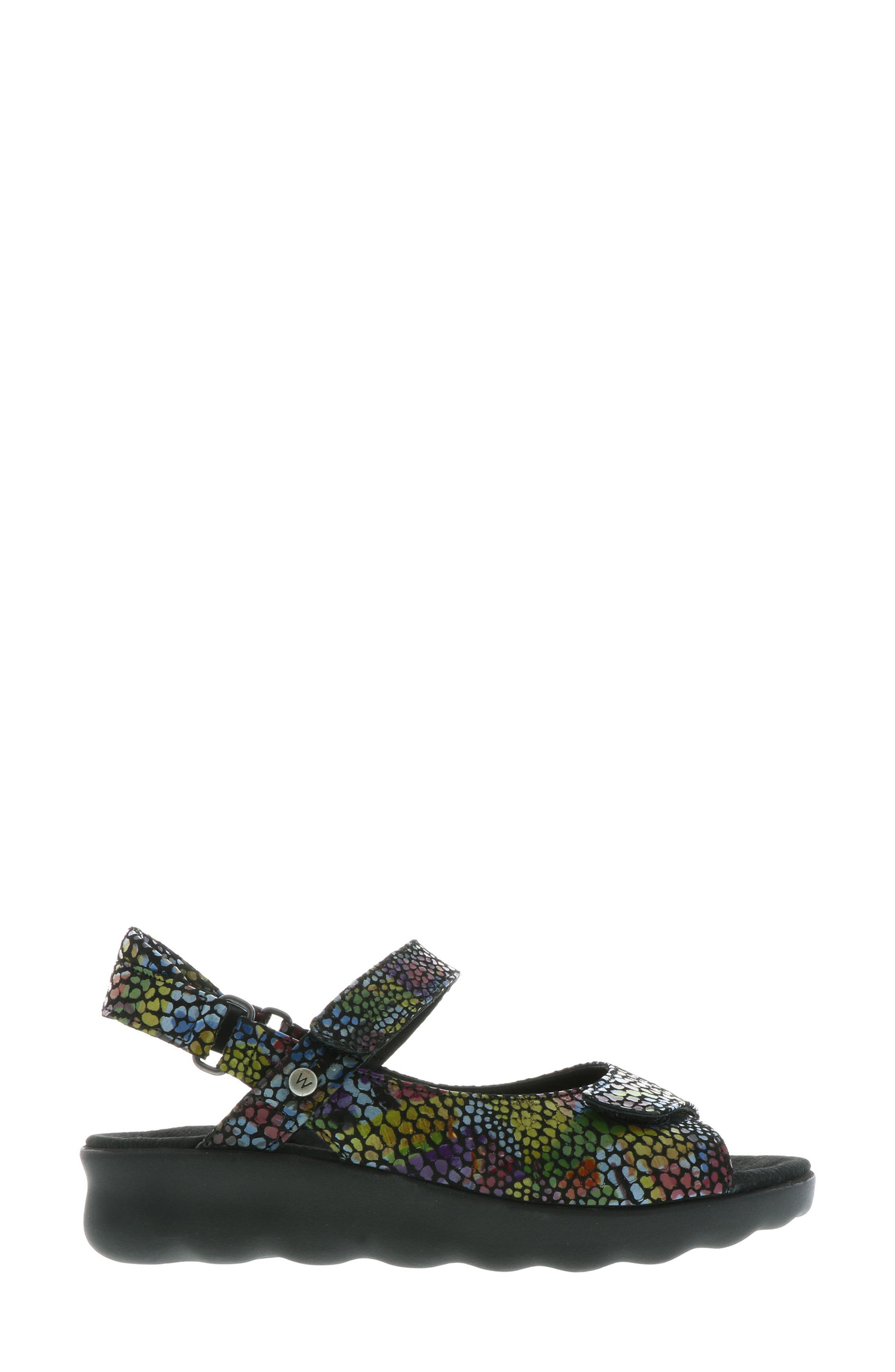 Pichu Quarter Strap Sandal,                             Alternate thumbnail 3, color,                             Black Multi Color Fantasy